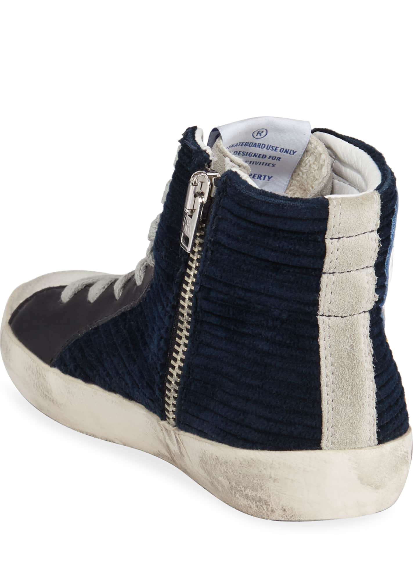 Image 4 of 4: Boy's Slide High-Top Corduroy Sneakers, Toddler/Kids