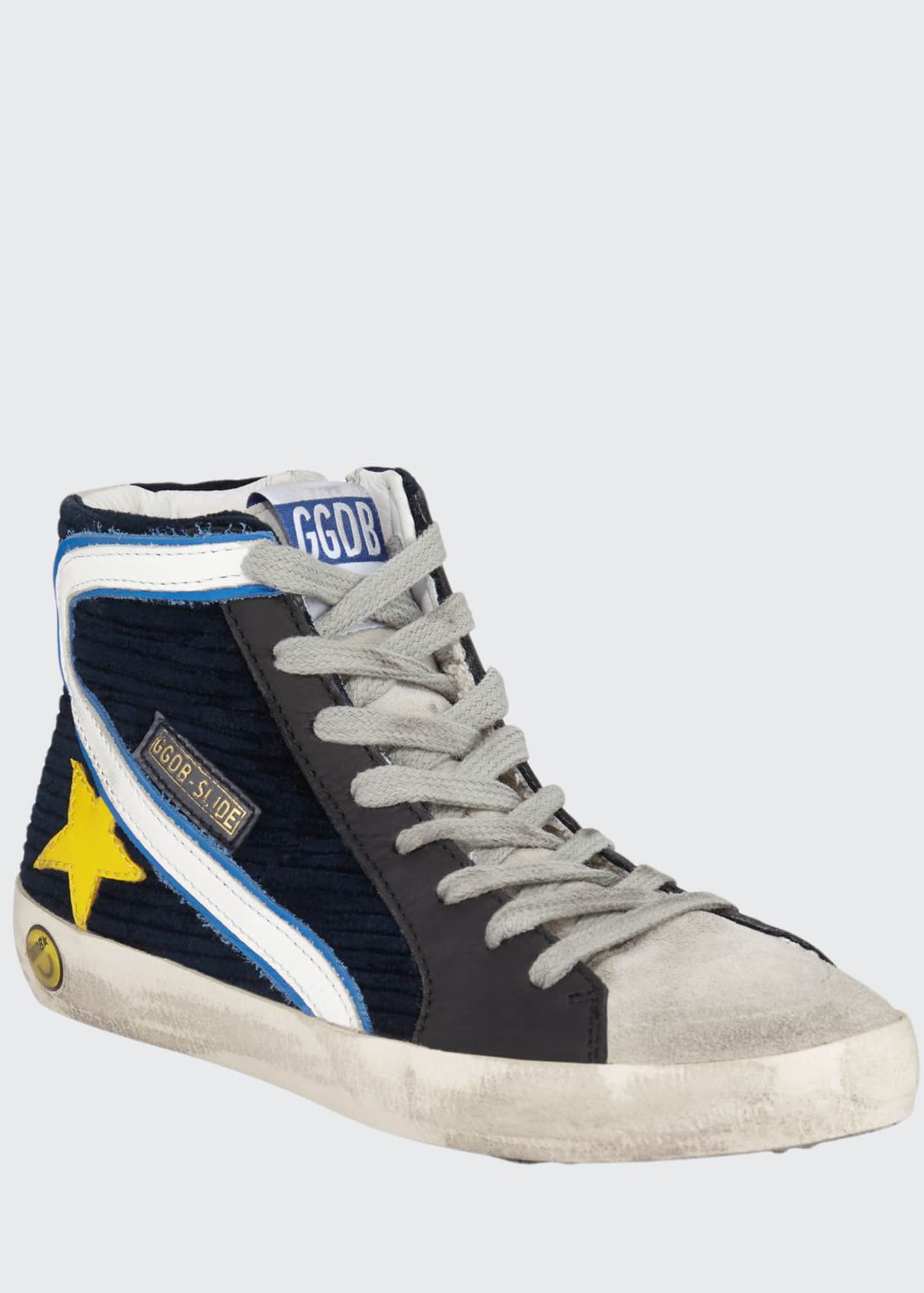 Golden Goose Boy's Slide High-Top Corduroy Sneakers, Toddler/Kids