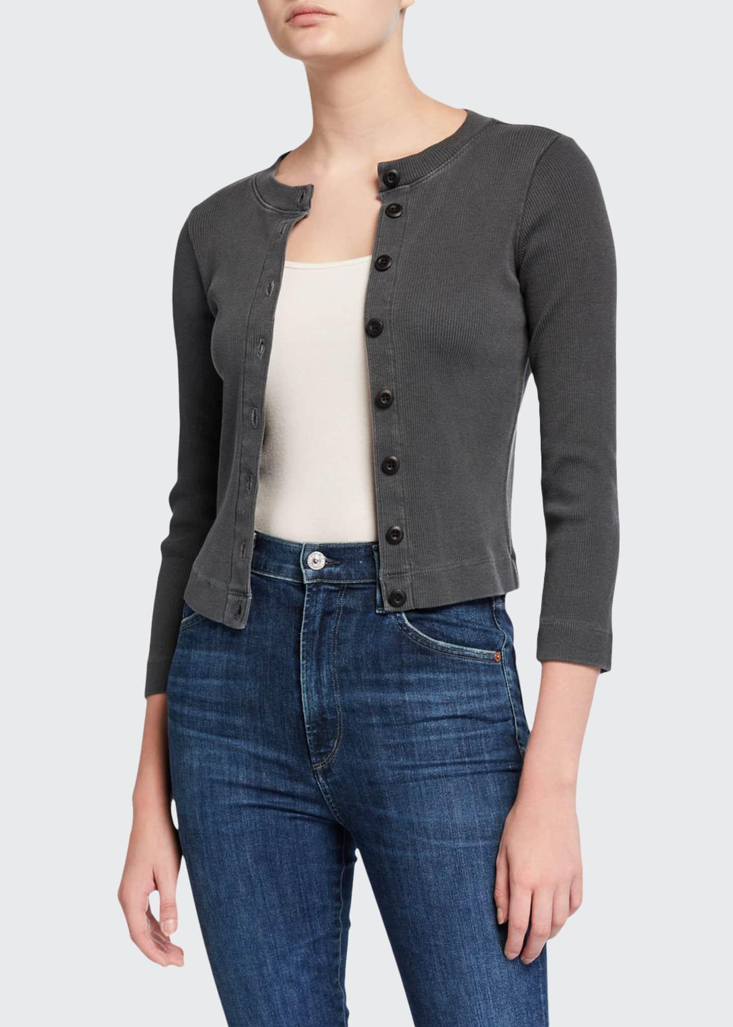 AMO Denim Button-Front 3/4-Sleeve Rib Cardigan