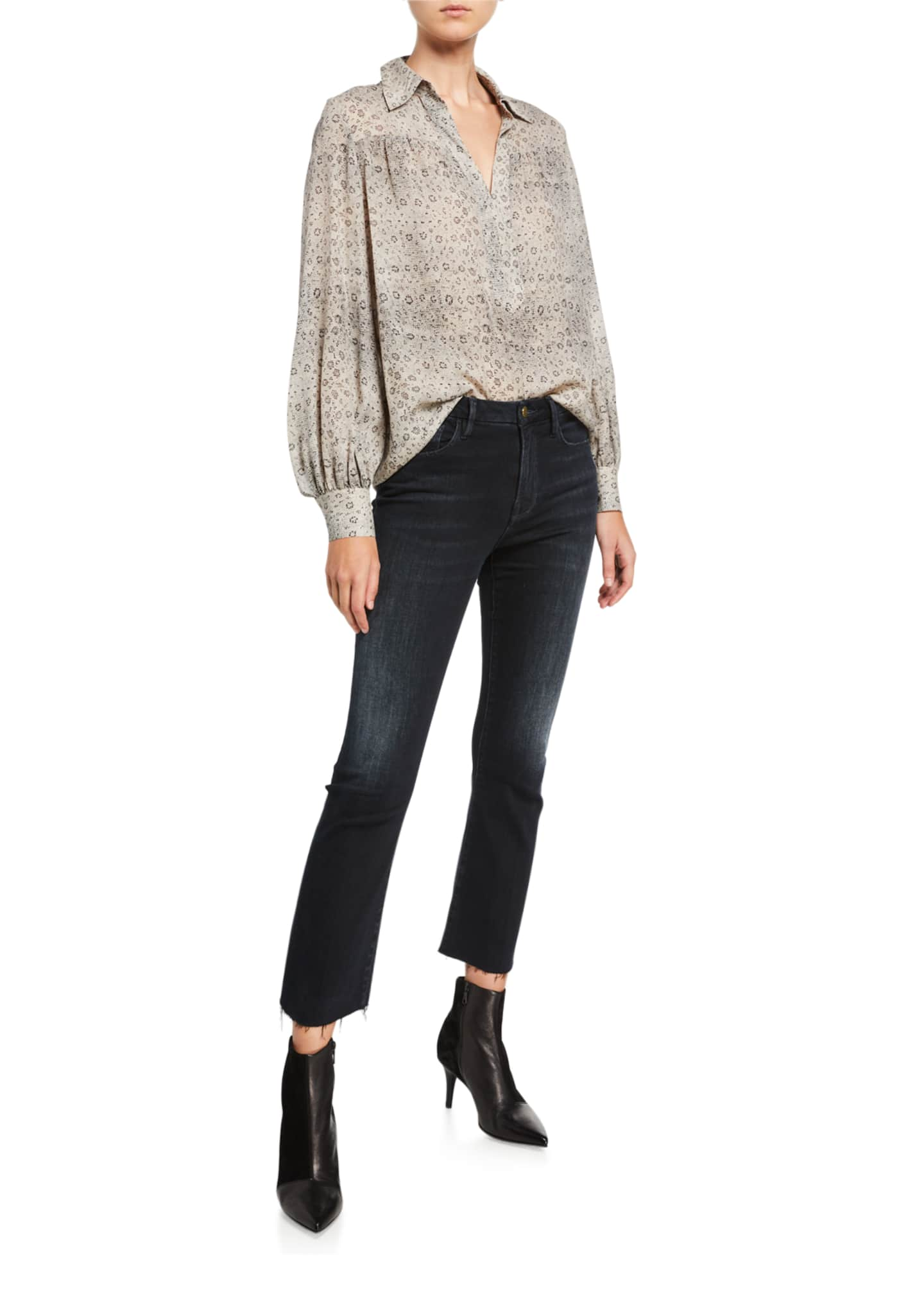 Image 3 of 3: Le Crop Mini Boot-Cut Jeans with Raw Hem