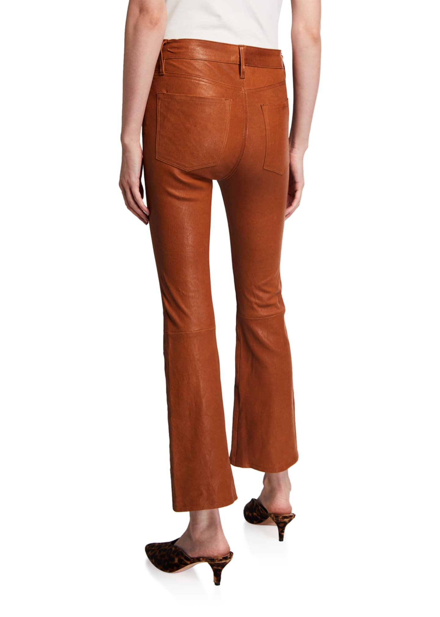Image 2 of 3: Le Crop Mini Boot-Cut Leather Pants
