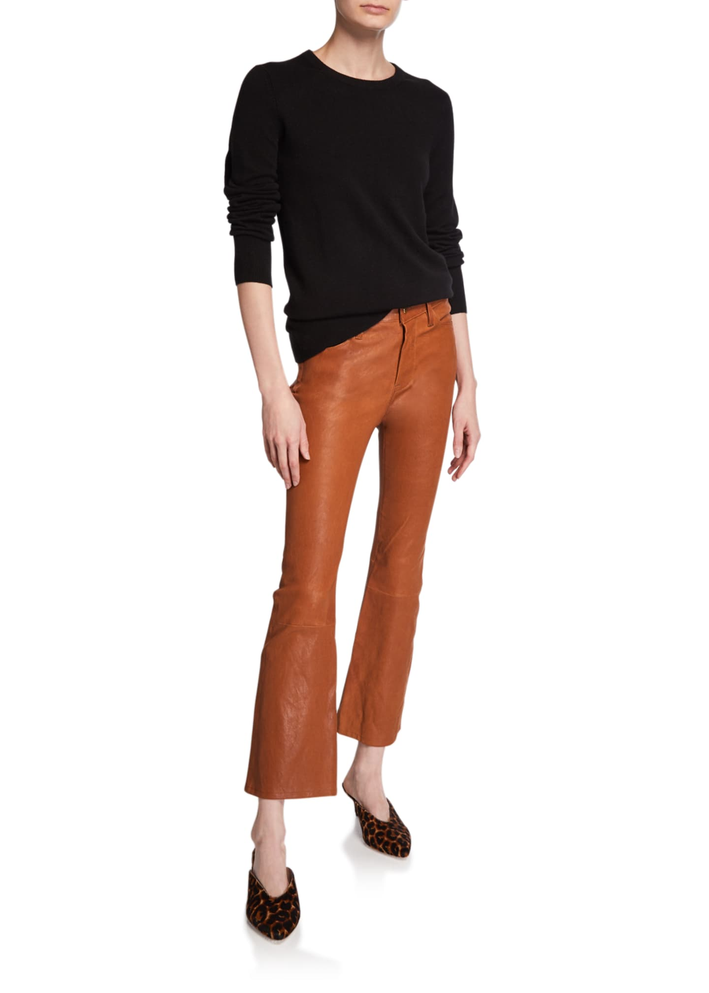 Image 3 of 3: Le Crop Mini Boot-Cut Leather Pants