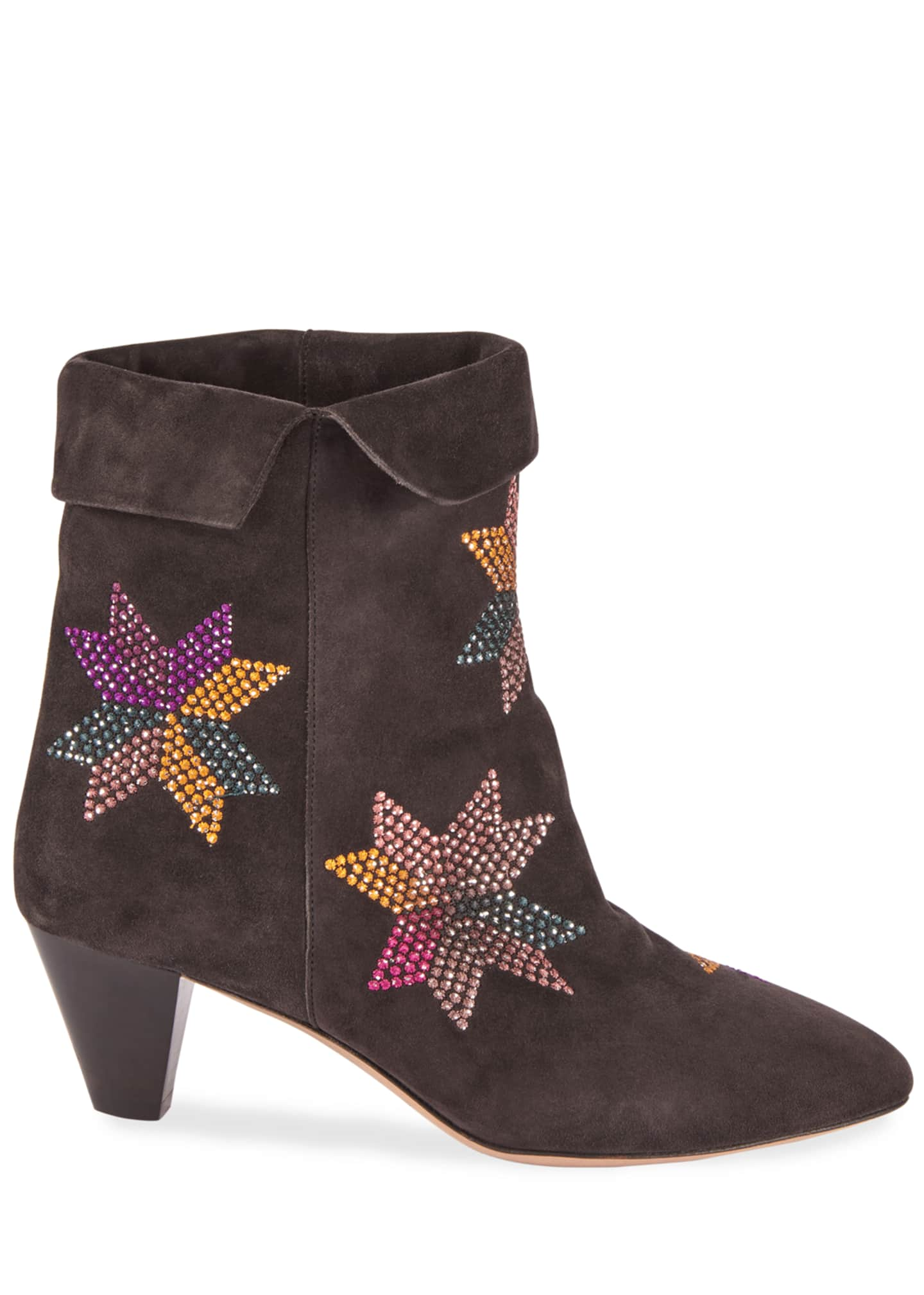 Image 2 of 4: Dyna Embroidered Suede Ankle Boots