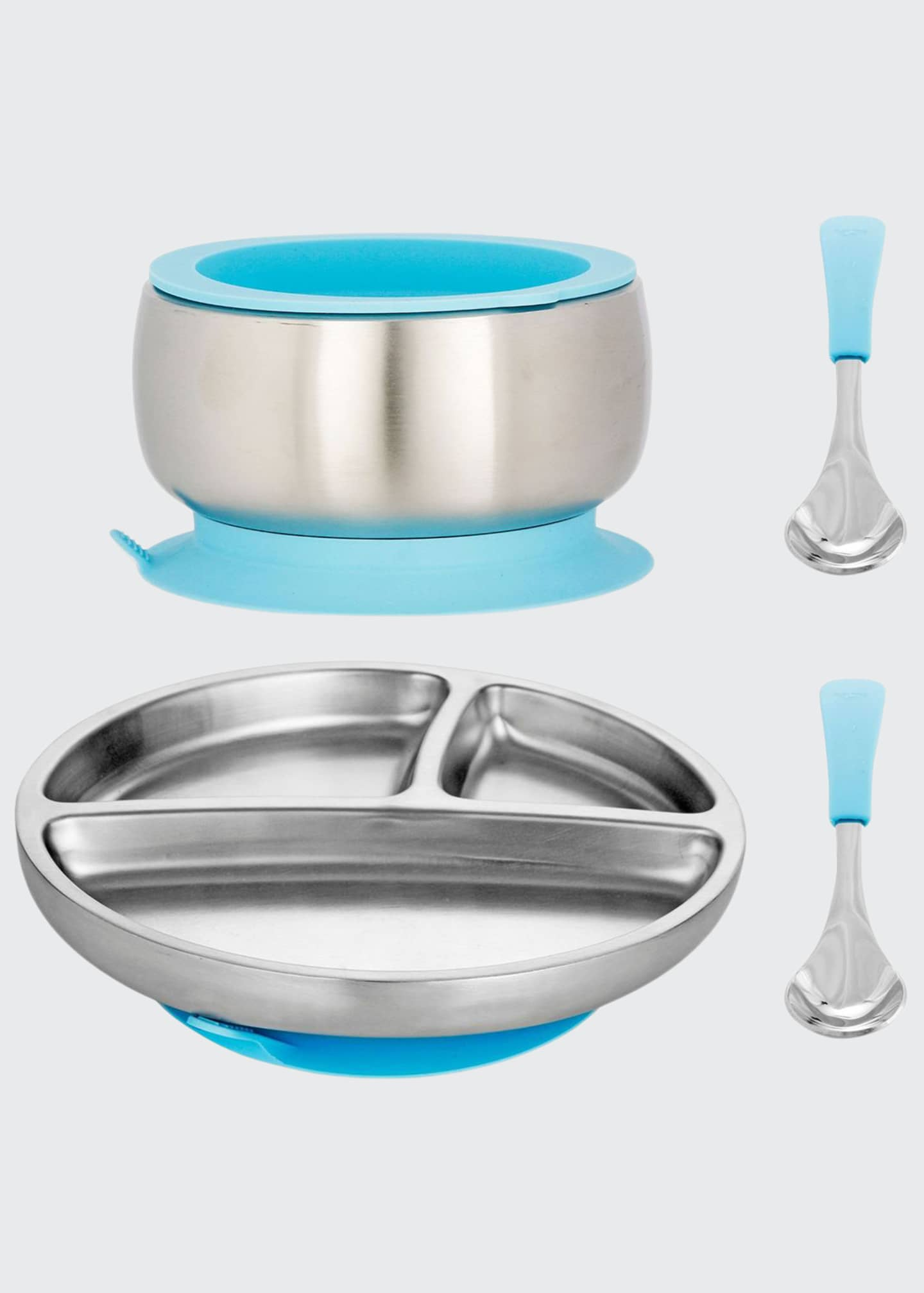 Avanchy Toddler's Stainless Steel Plate, Bowl & Spoon