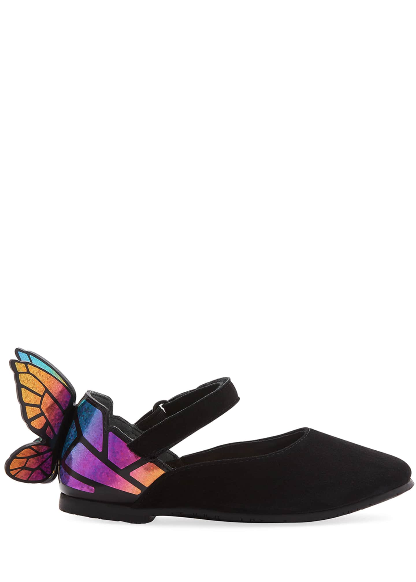 Image 2 of 3: Chiara Suede Mirrored Butterfly Mary Jane Flats, Baby/Toddler
