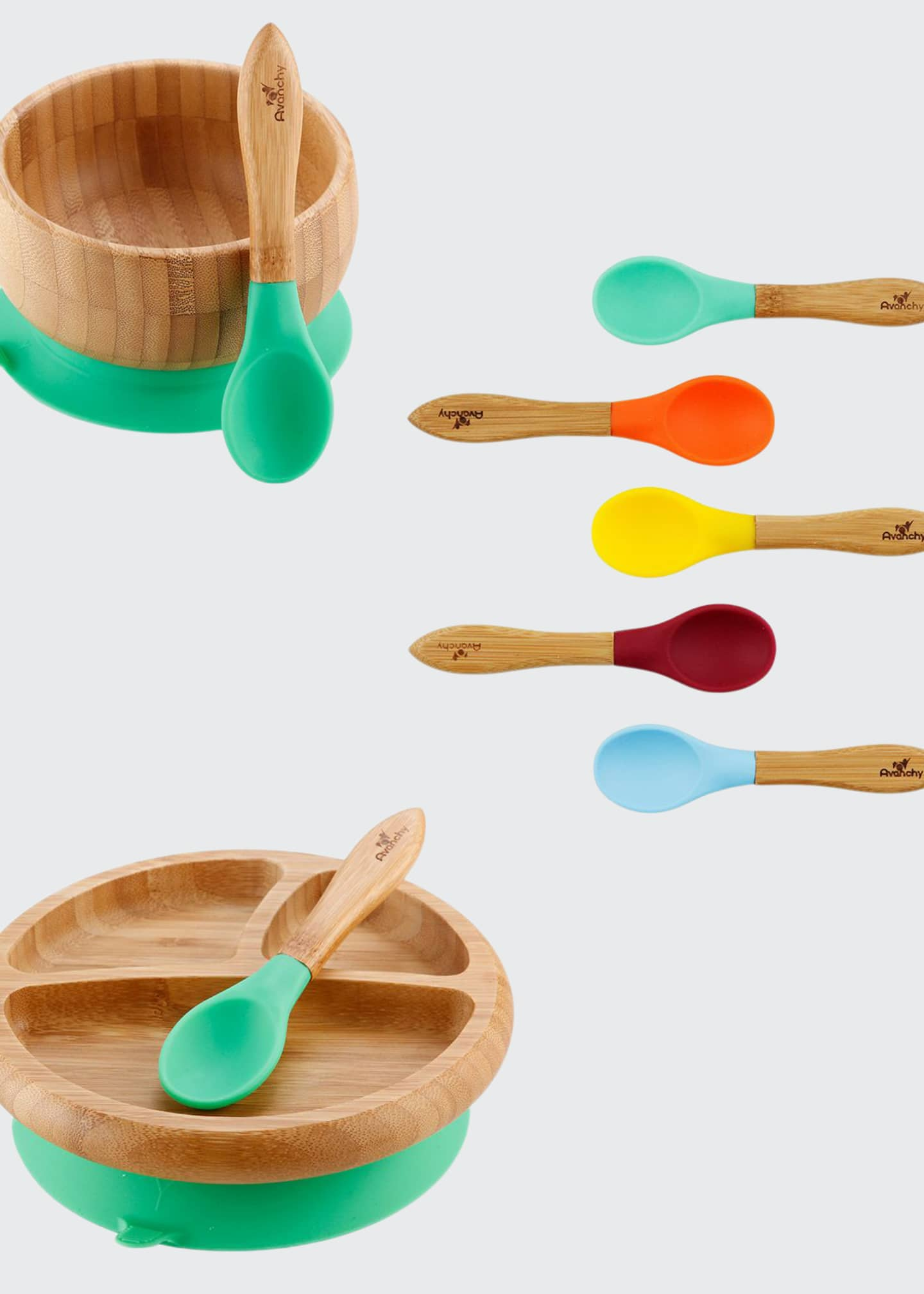 Avanchy Baby's Bamboo Suction Bowl, Plate & Spoon