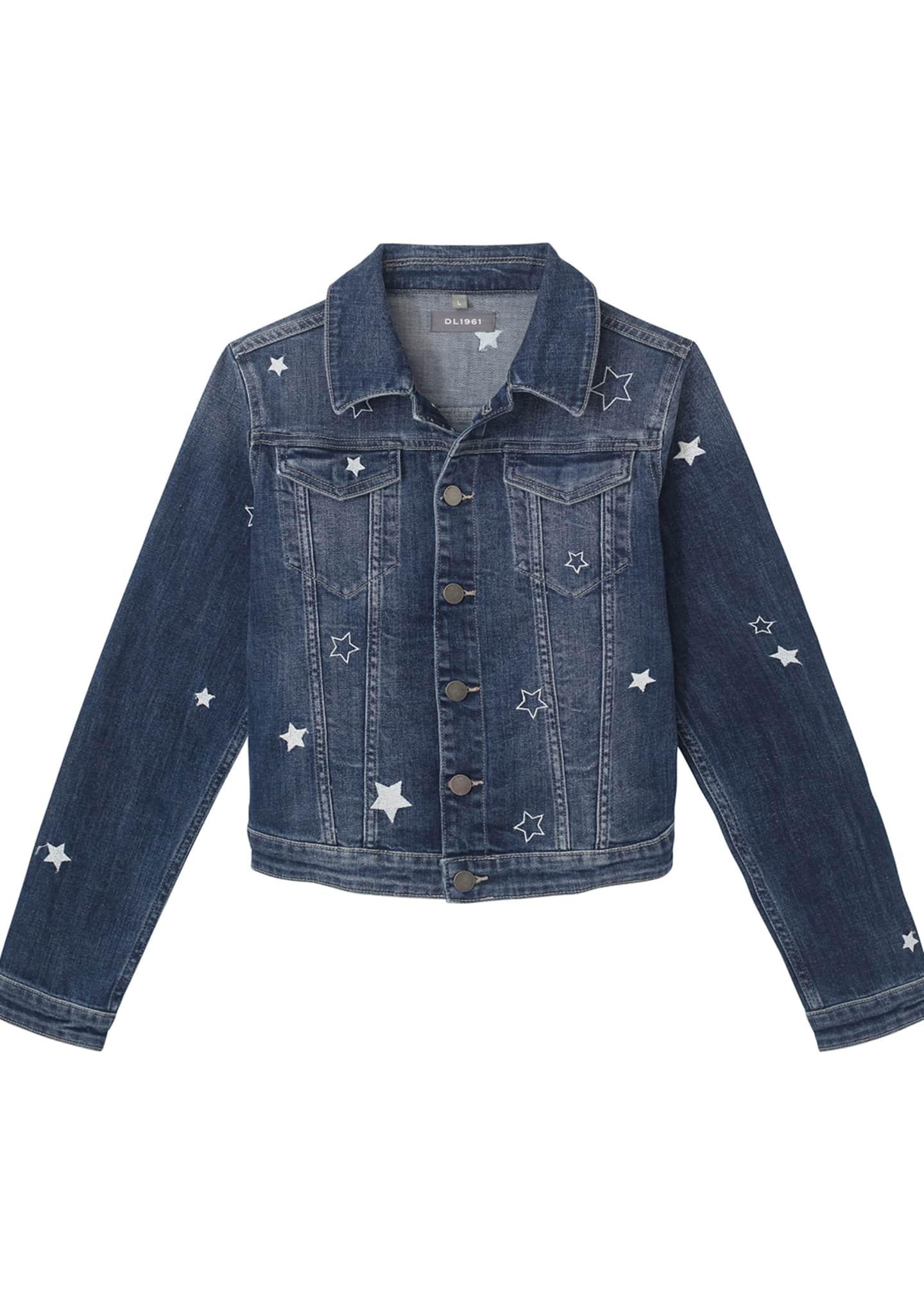 DL1961 Premium Denim Girl's Manning Star Embroidered Denim