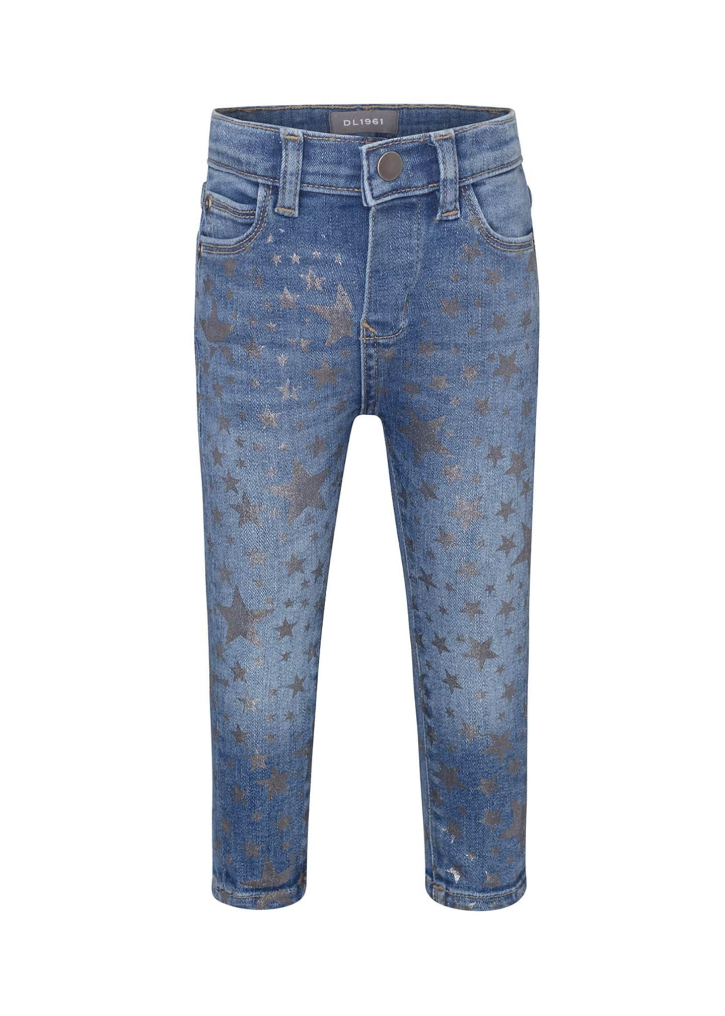 DL 1961 Sophie Metallic Star Print Skinny Jeans,
