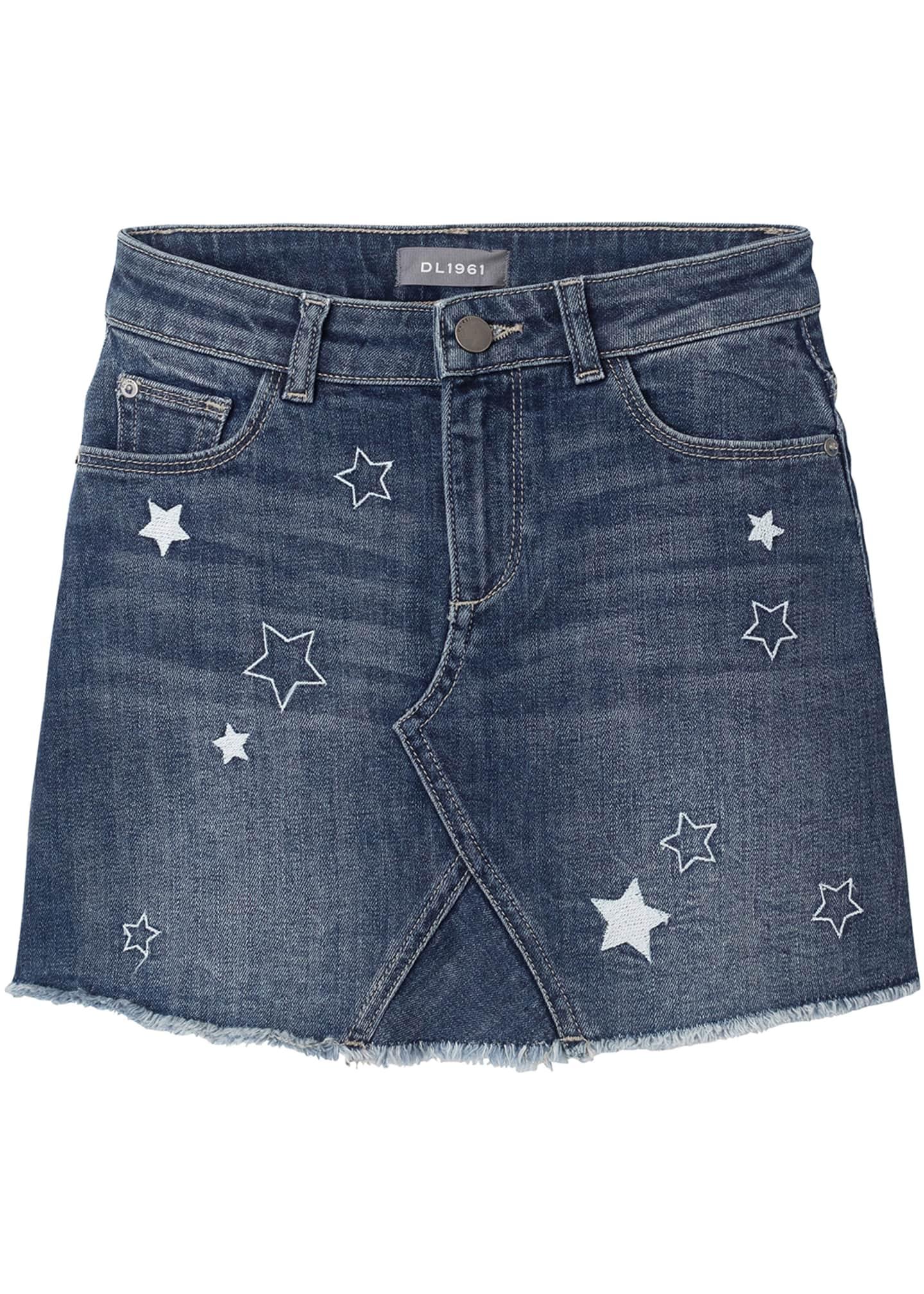 DL 1961 Jenny Stars A-Line Denim Skirt, Size