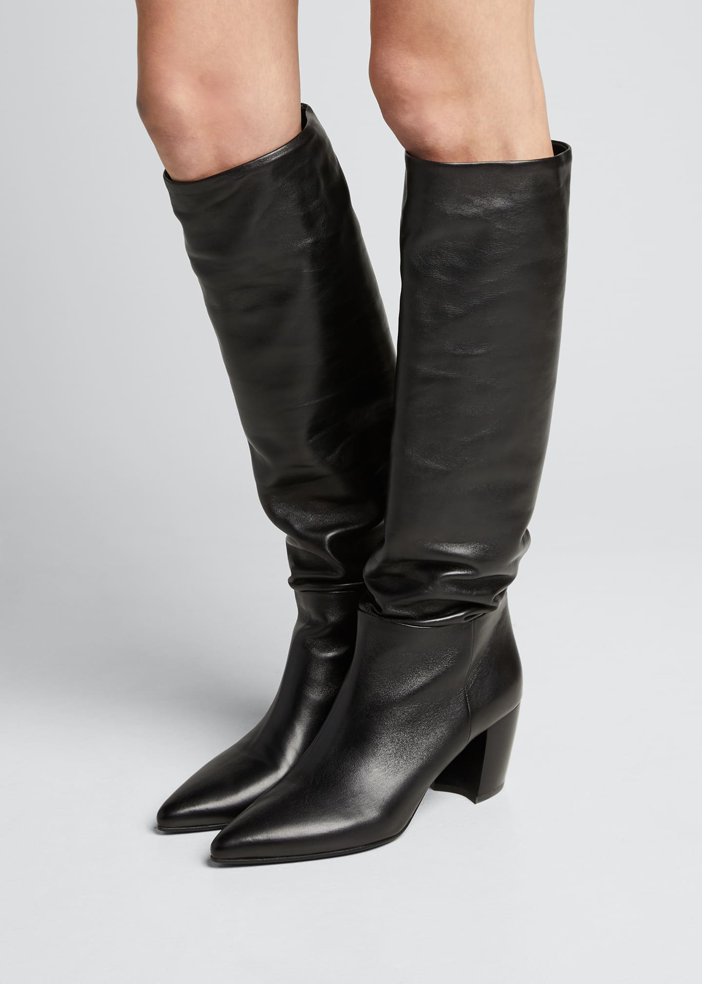 Image 2 of 5: Pointed Western Leather Tall Boots
