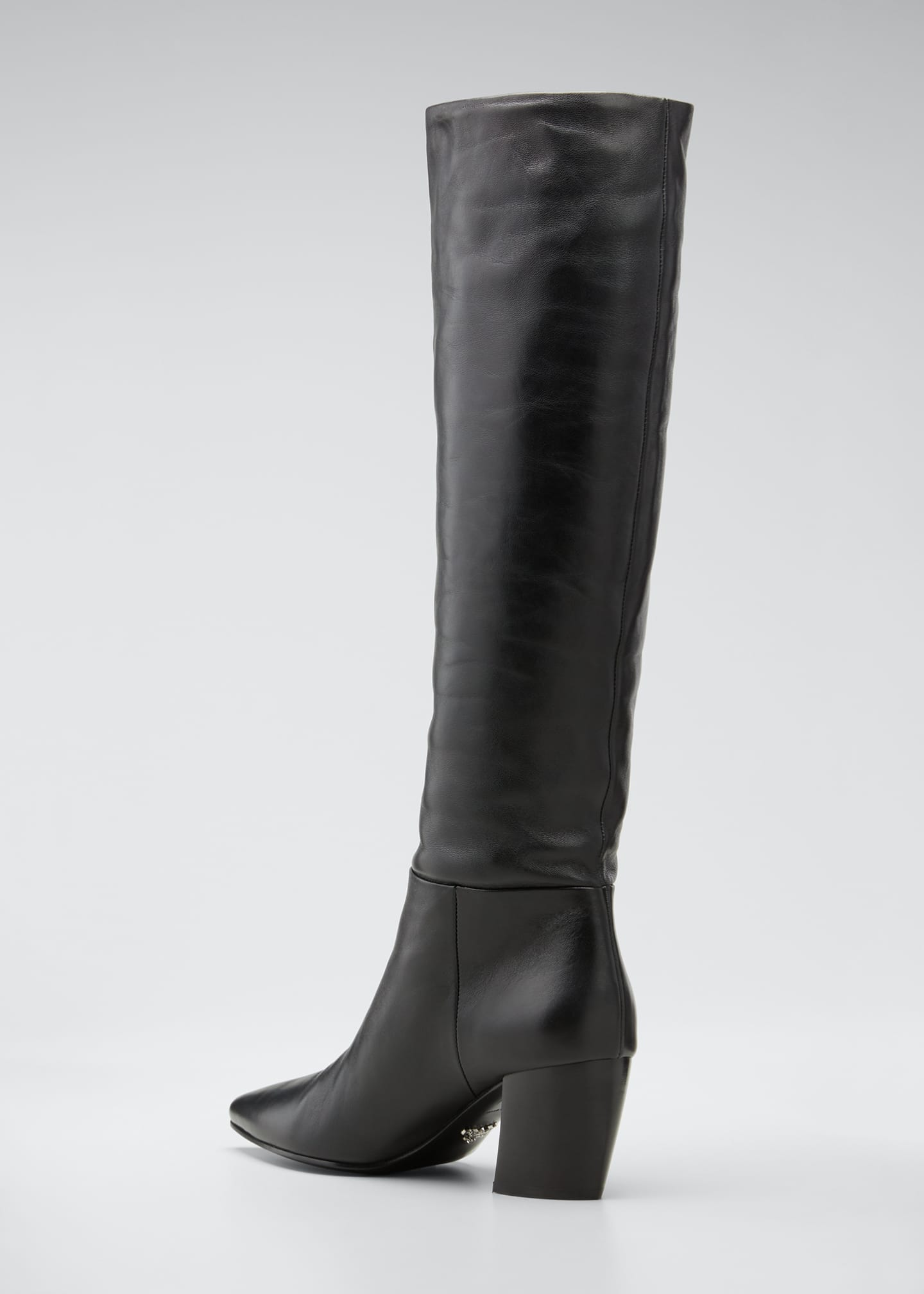 Image 4 of 5: Pointed Western Leather Tall Boots