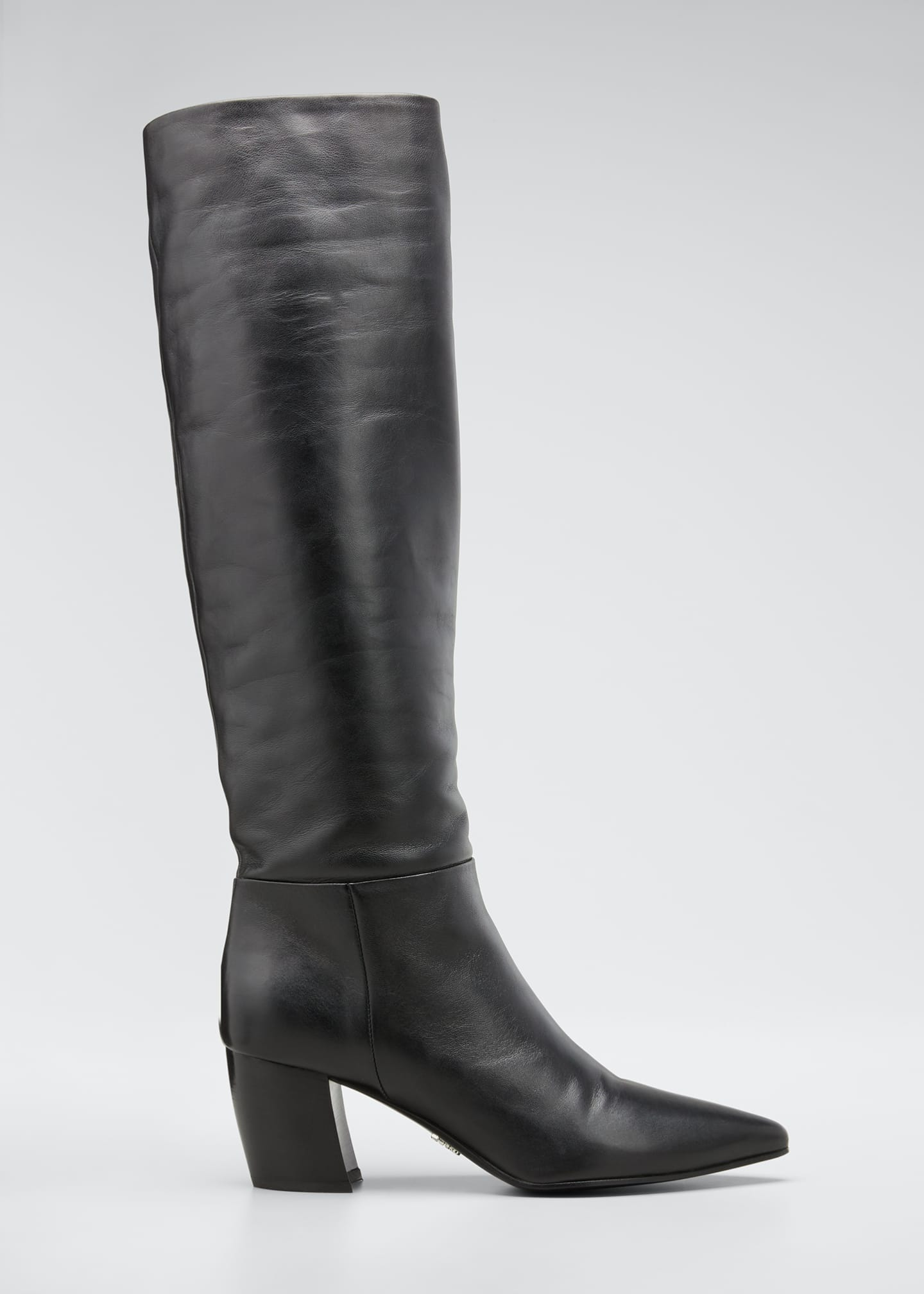 Image 1 of 5: Pointed Western Leather Tall Boots