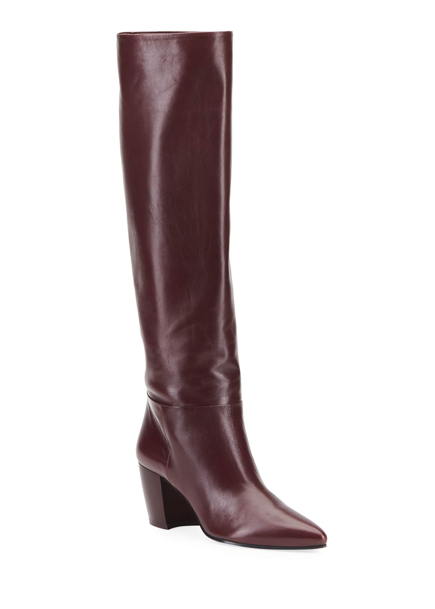 Prada Pointed Western Leather Tall Boots