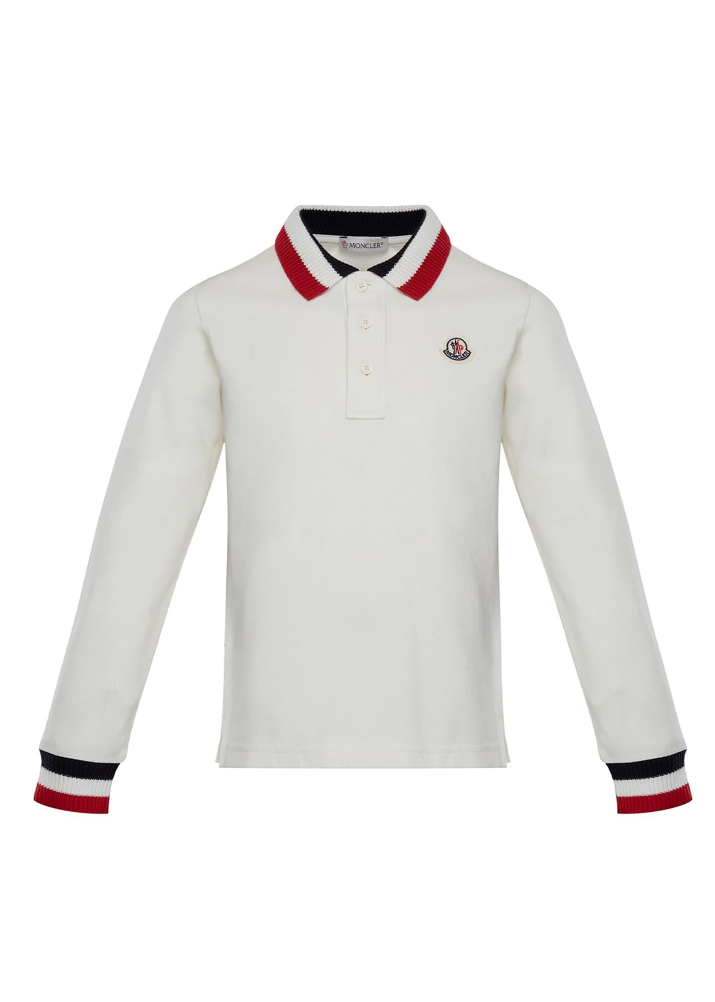 Moncler Long-Sleeve Polo Half-Button Shirt, Size 8-14