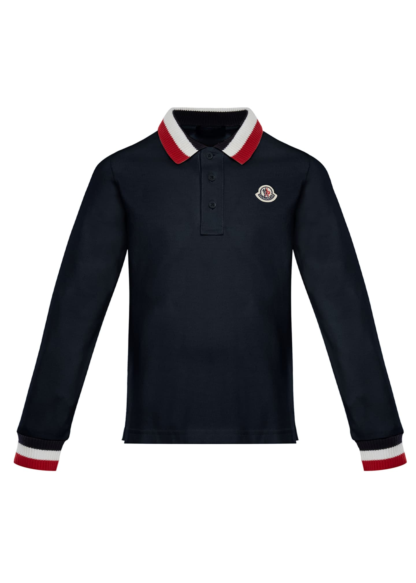 Moncler Long-Sleeve Polo Half-Button Shirt, Navy, Size 8-14