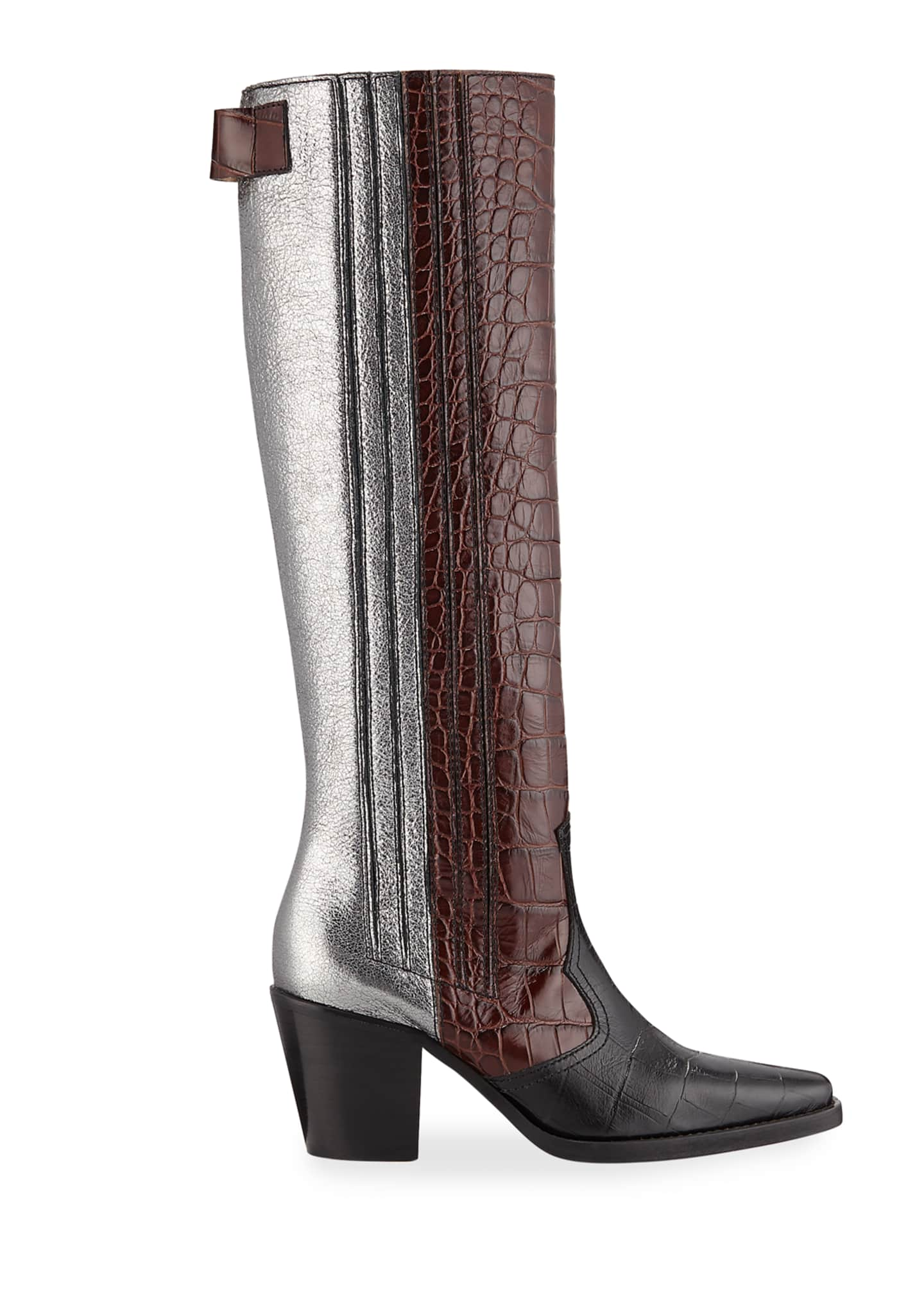 Image 2 of 3: Mixed Pattern Western Knee Boots