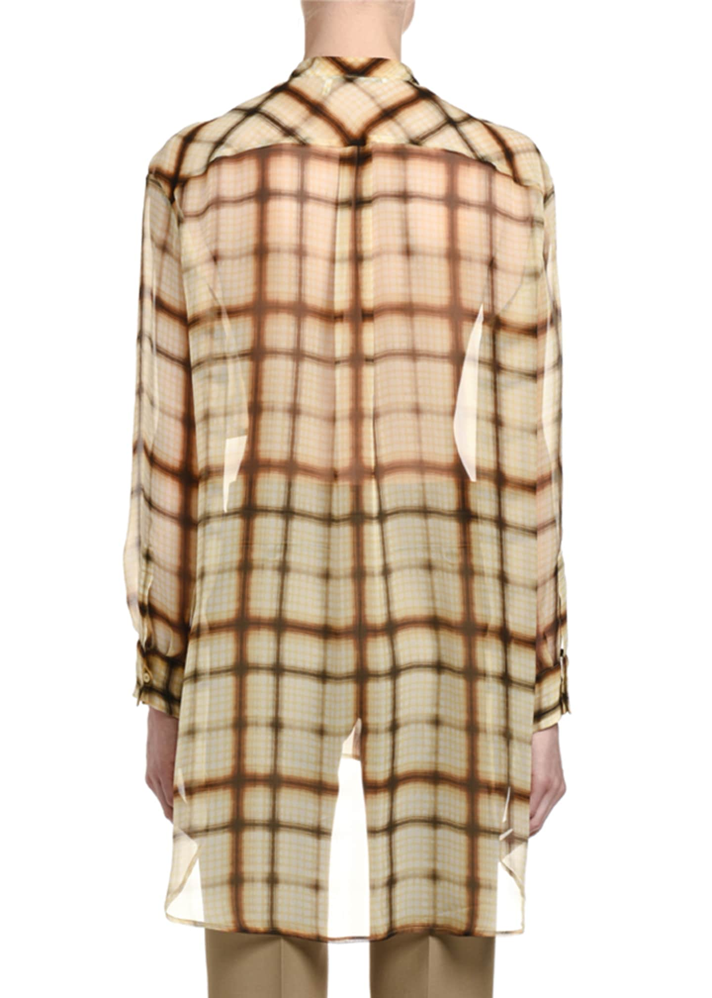 Image 2 of 2: Plaid Silk Chiffon Button-Front Oversized Blouse