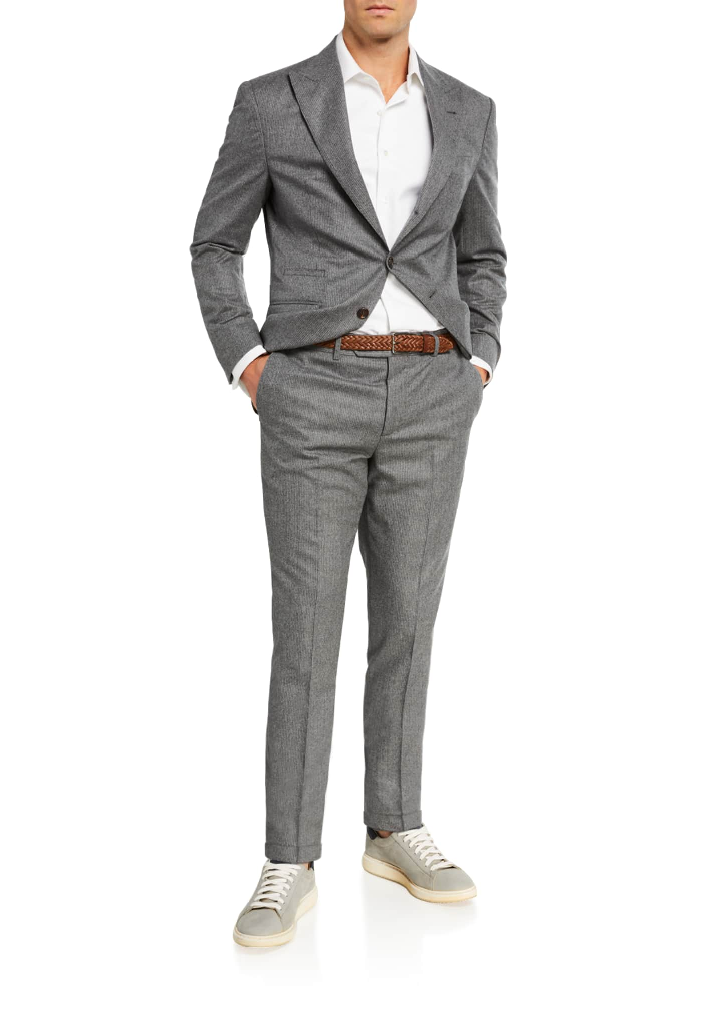 Image 2 of 4: Men's Micro-Stripe Flannel Two-Piece Suit