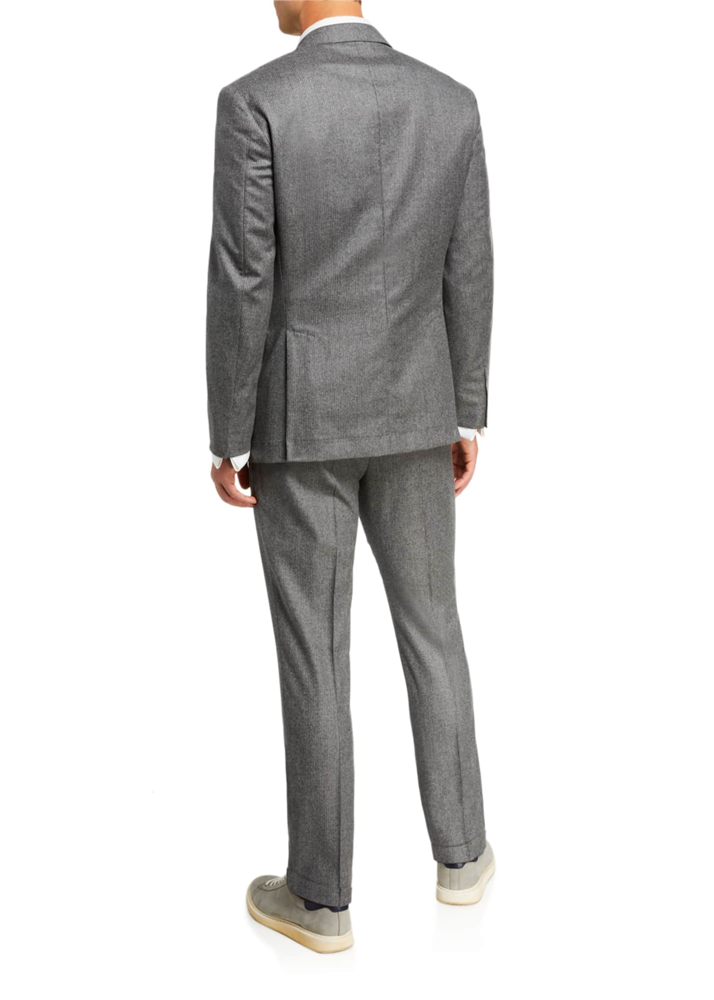 Image 3 of 4: Men's Micro-Stripe Flannel Two-Piece Suit