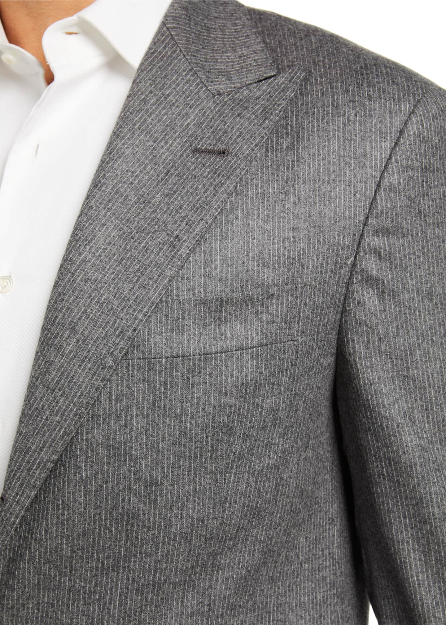 Image 4 of 4: Men's Micro-Stripe Flannel Two-Piece Suit