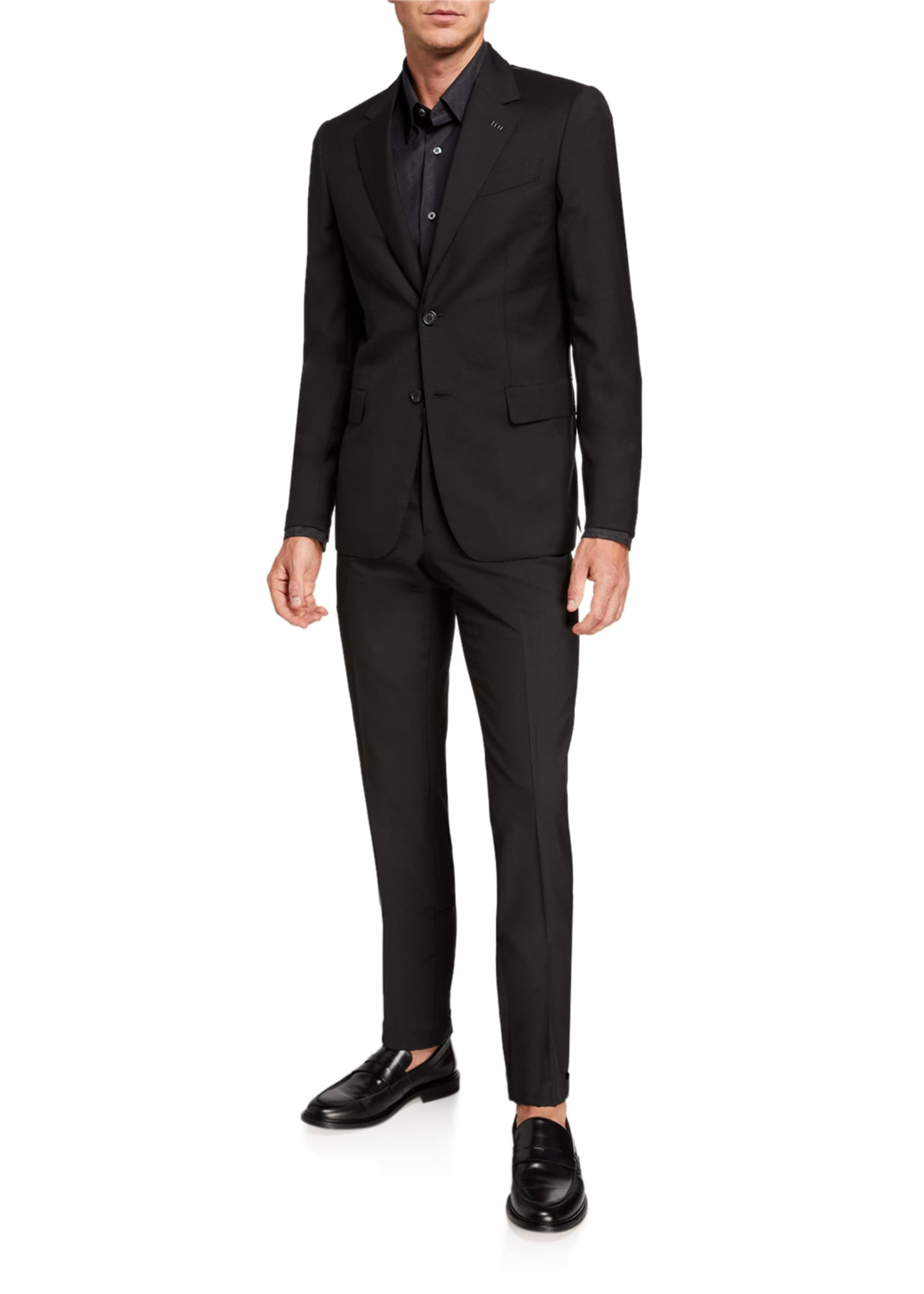Image 2 of 4: Men's Solid Two-Piece Virgin Wool Suit