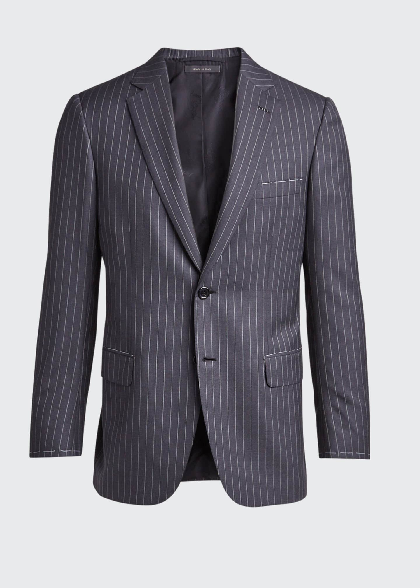 Image 5 of 5: Men's Pinstriped Two-Piece Suit