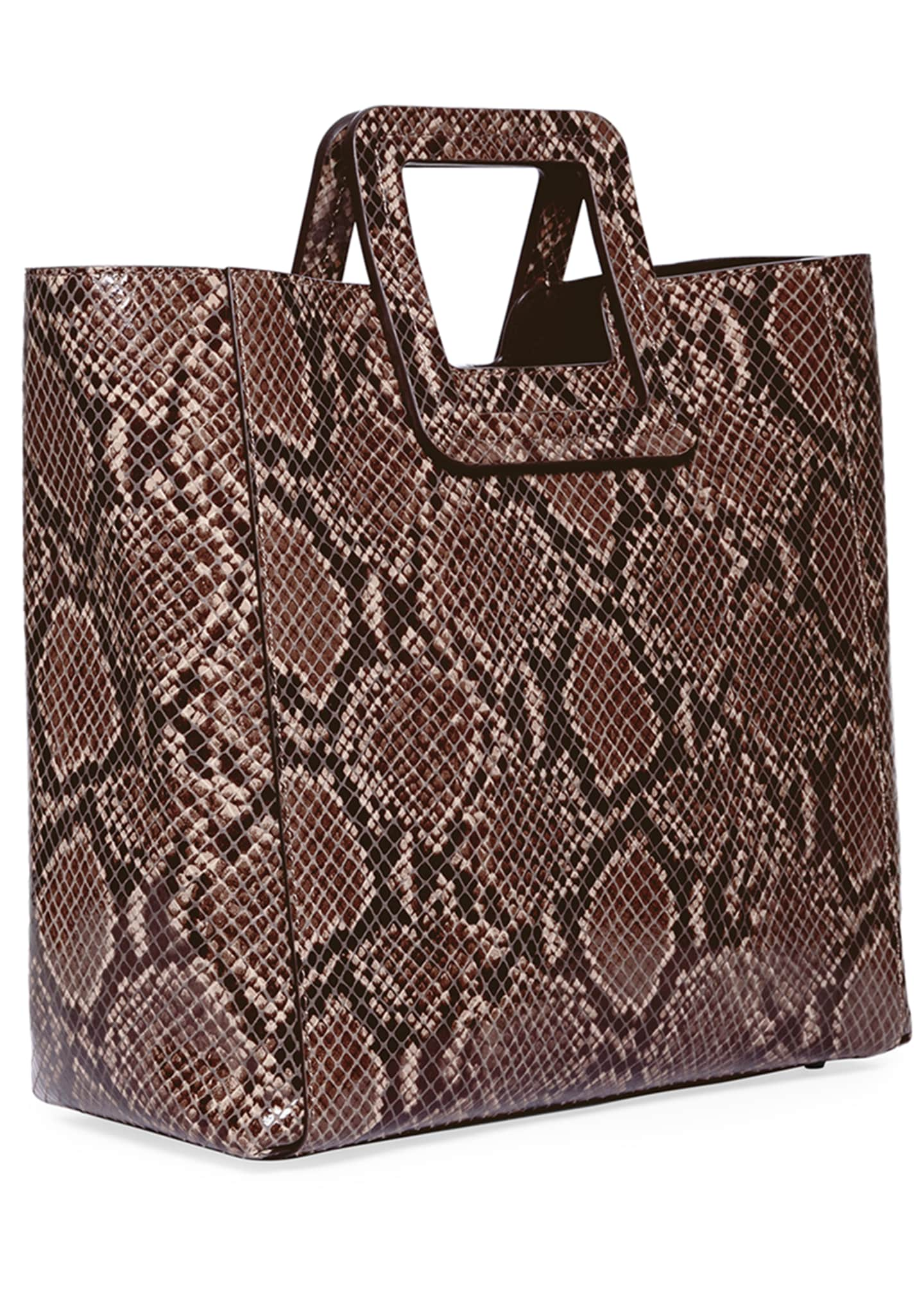 Image 2 of 5: Shirley Snake-Embossed Tote Bag