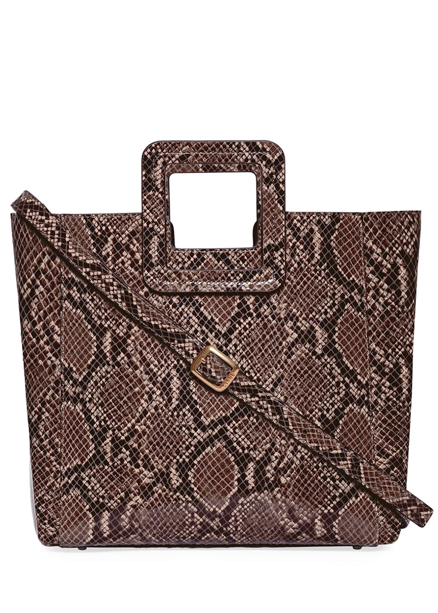 Image 3 of 5: Shirley Snake-Embossed Tote Bag