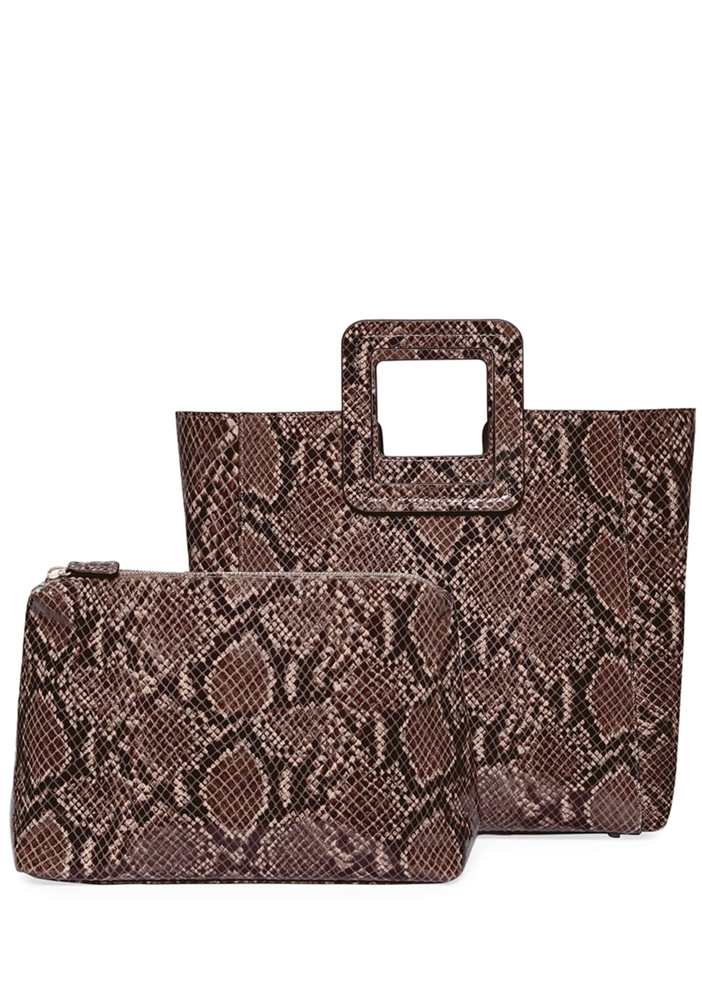 Image 4 of 5: Shirley Snake-Embossed Tote Bag