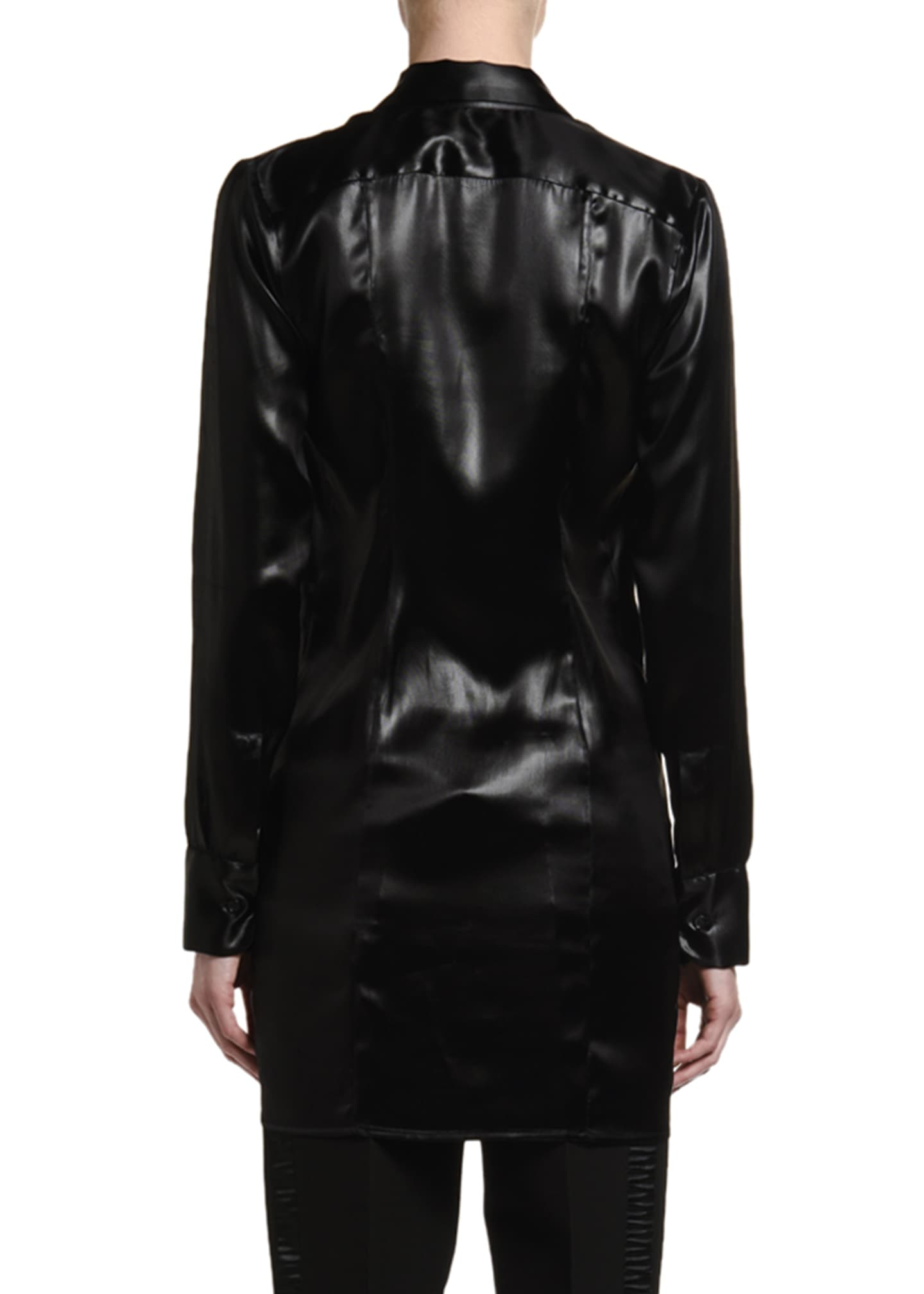 Image 3 of 4: Lacquered Satin Blouse with Ruffle Keyhole