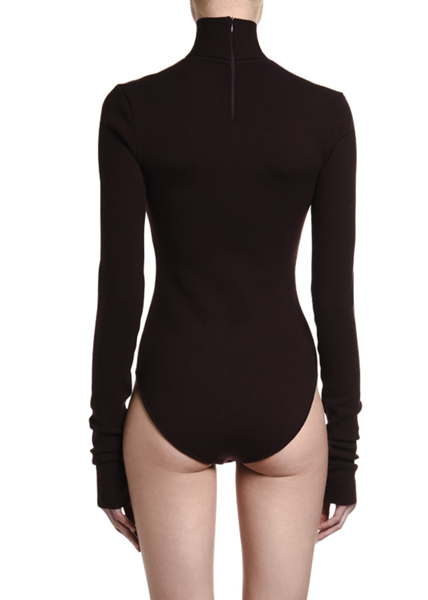 Image 2 of 2: Stretch Wool Open-Neck Bodysuit