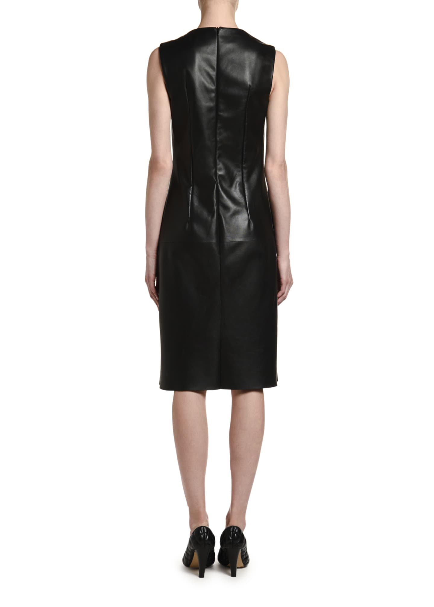 Image 2 of 2: Sleeveless Square Halter-Neck Leather Dress