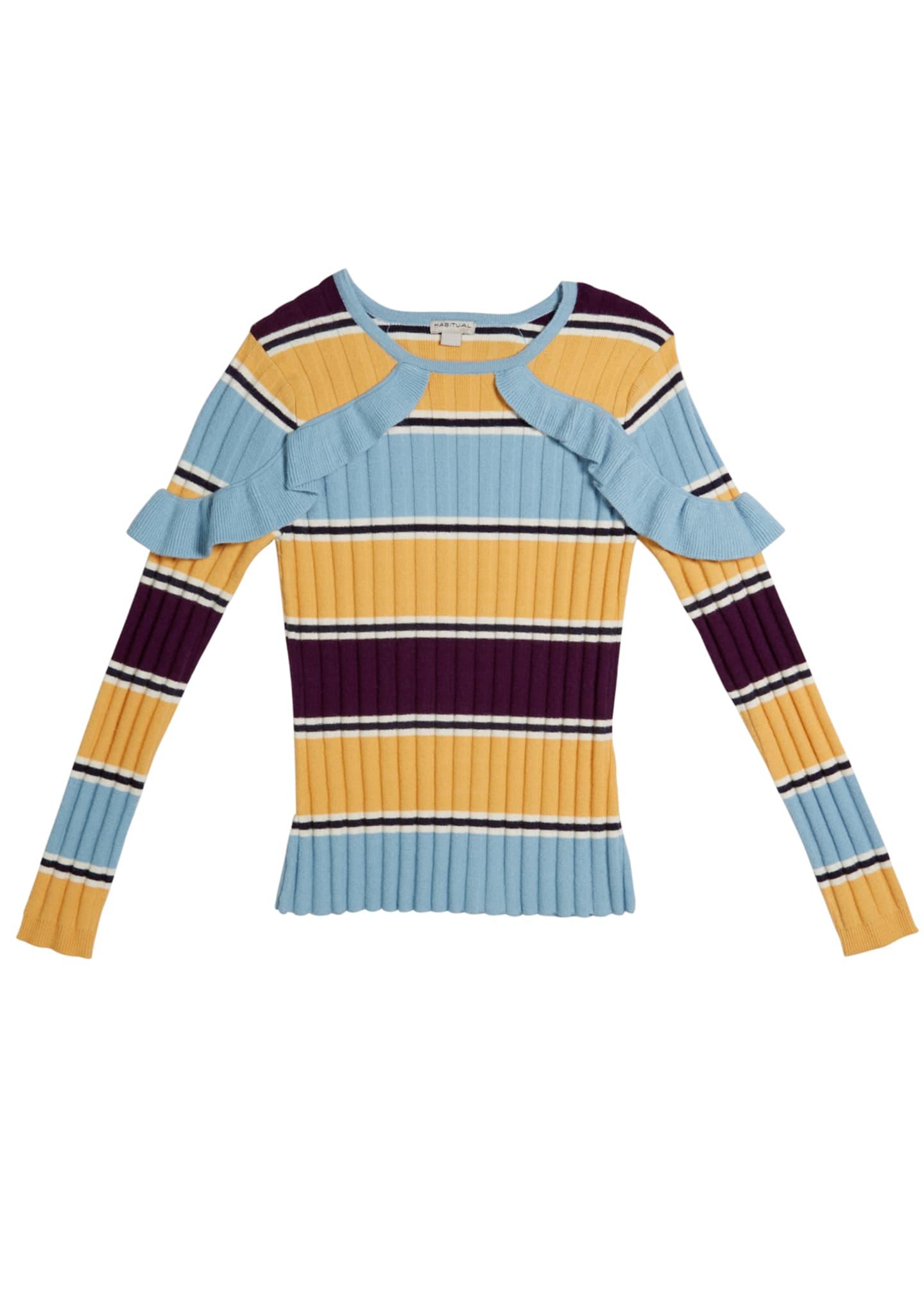 Habitual Knit Stripe Ruffle Trim Sweater, Size 7-14