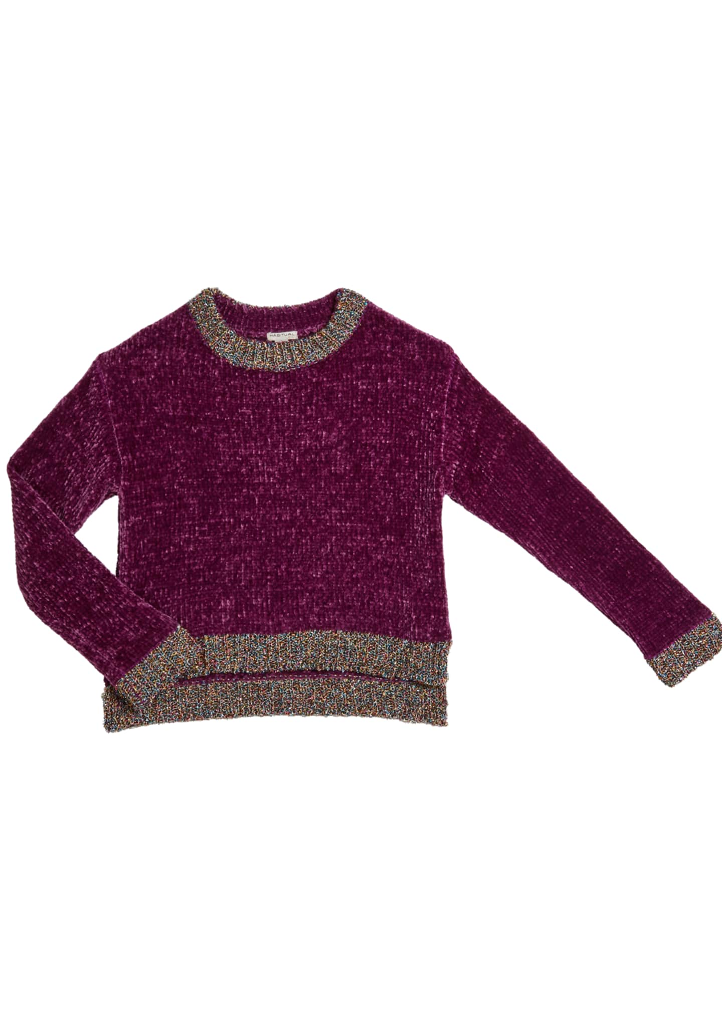Habitual Cassidy Chenille Sweater w/ Metallic Lurex Trim,