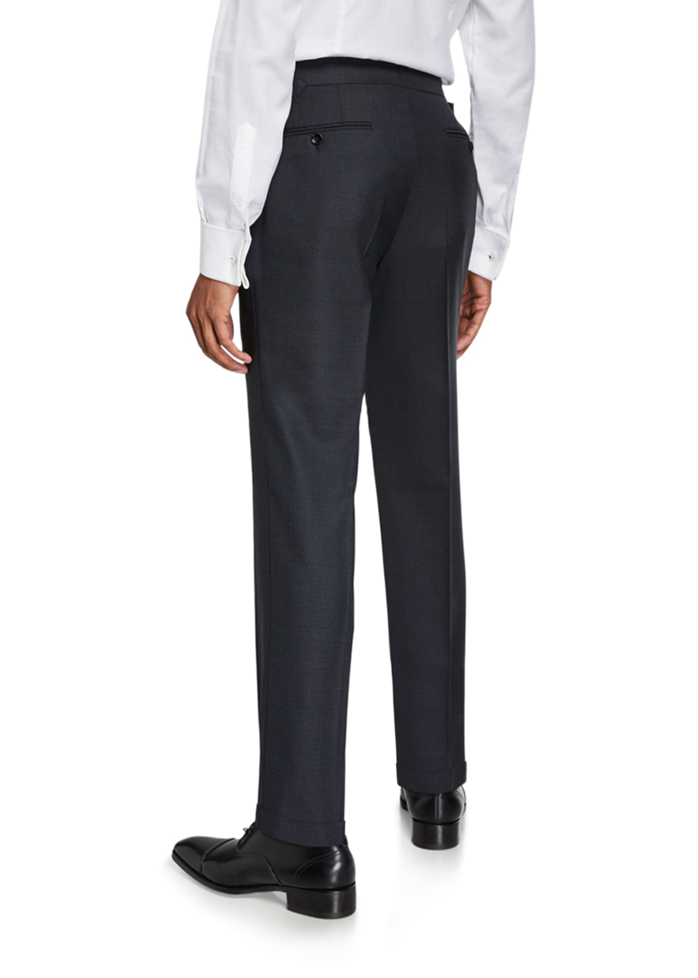 Image 2 of 3: Men's O'Connor Micro-Houndstooth Wool Dress Pants