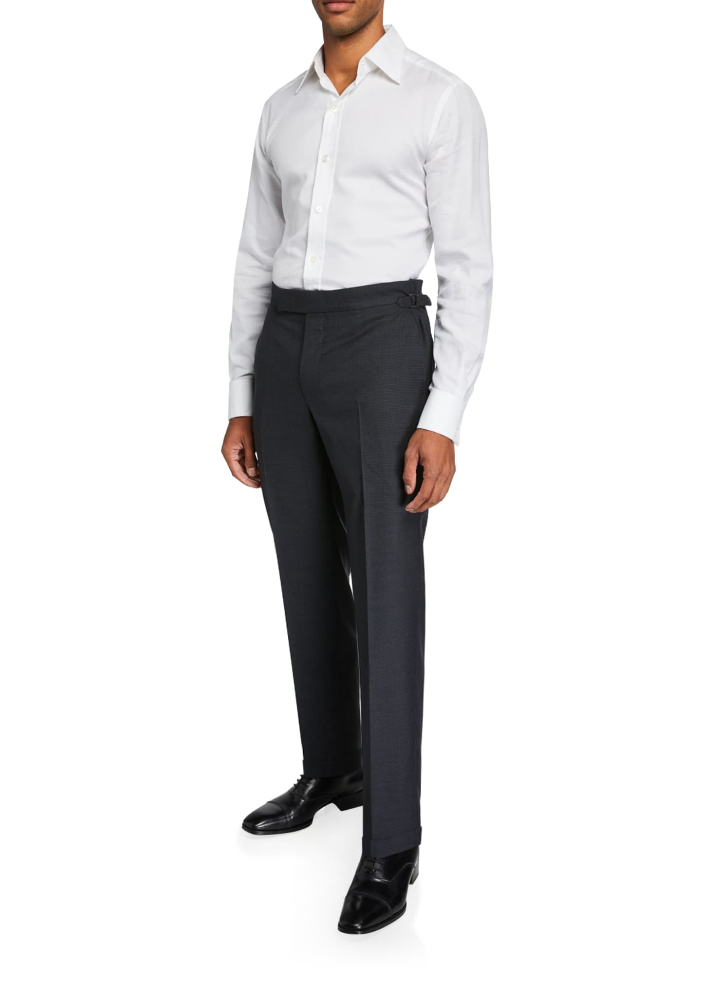 Image 3 of 3: Men's O'Connor Micro-Houndstooth Wool Dress Pants