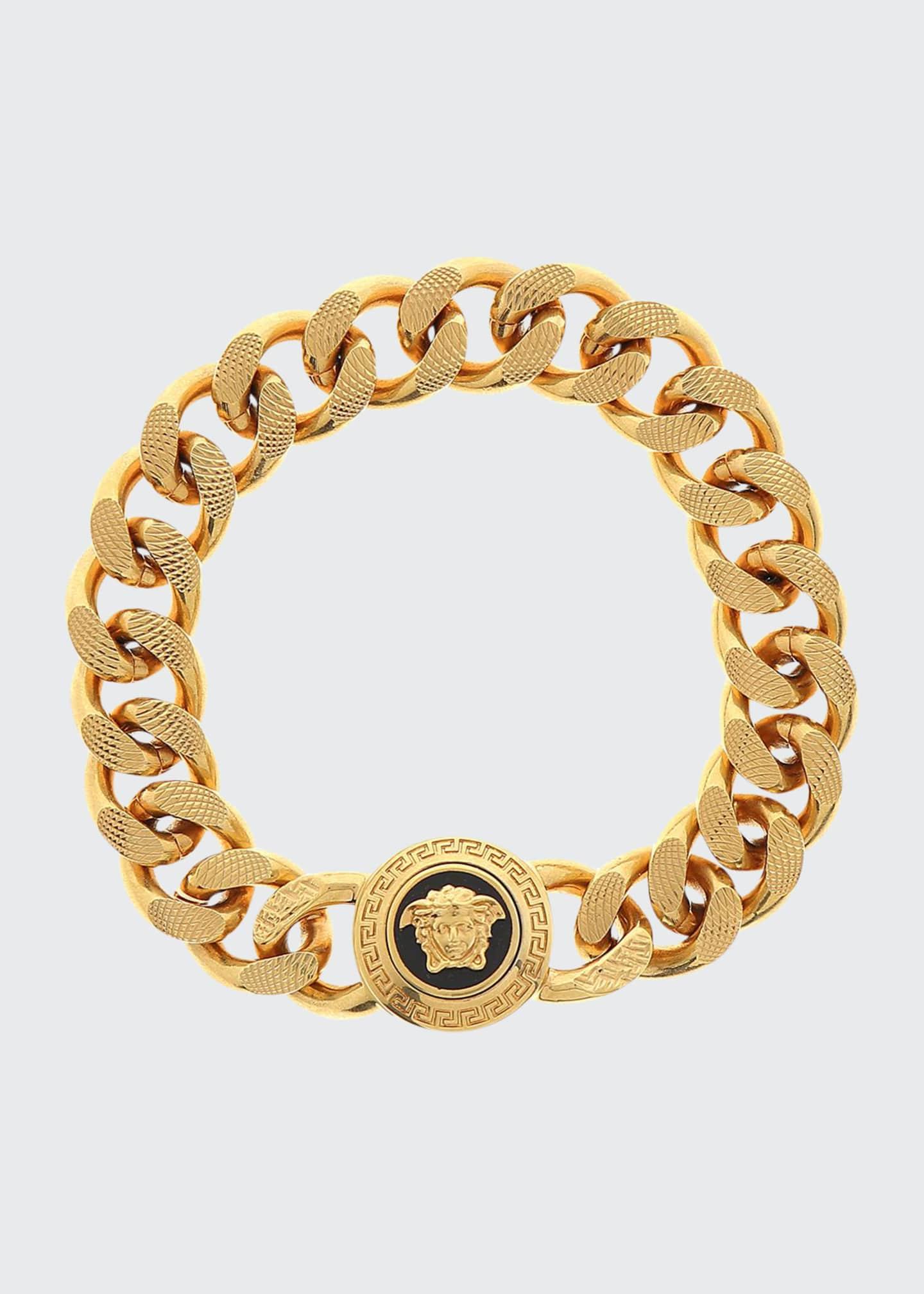 Versace Men's Tribute Medusa Head Textured Link Bracelet