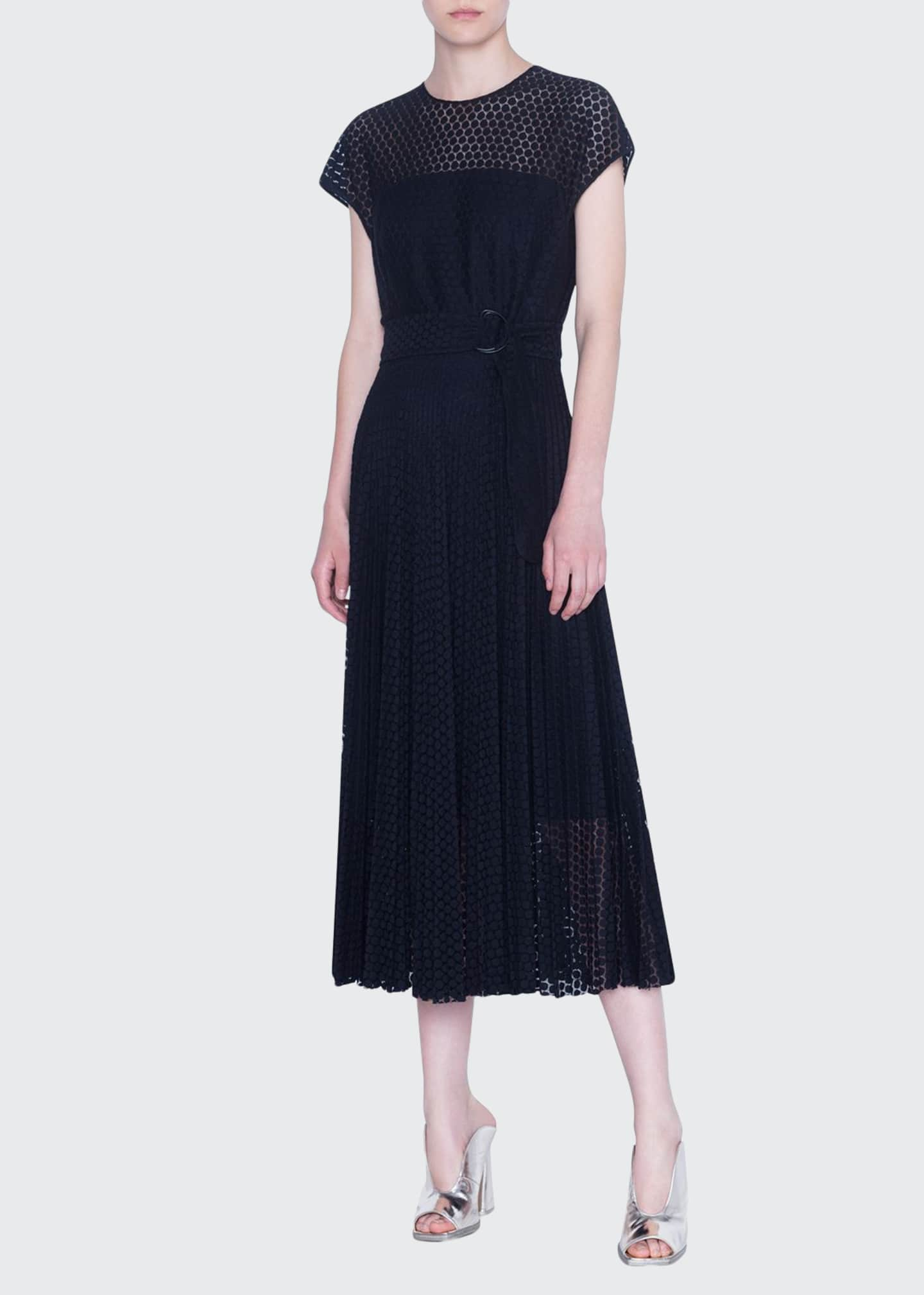 Akris punto Lace Crewneck Midi Dress
