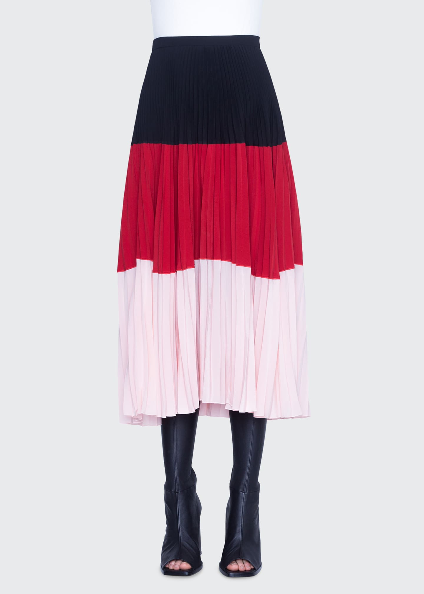 Image 1 of 2: Colorblocked Crepe Bell-Shaped Skirt