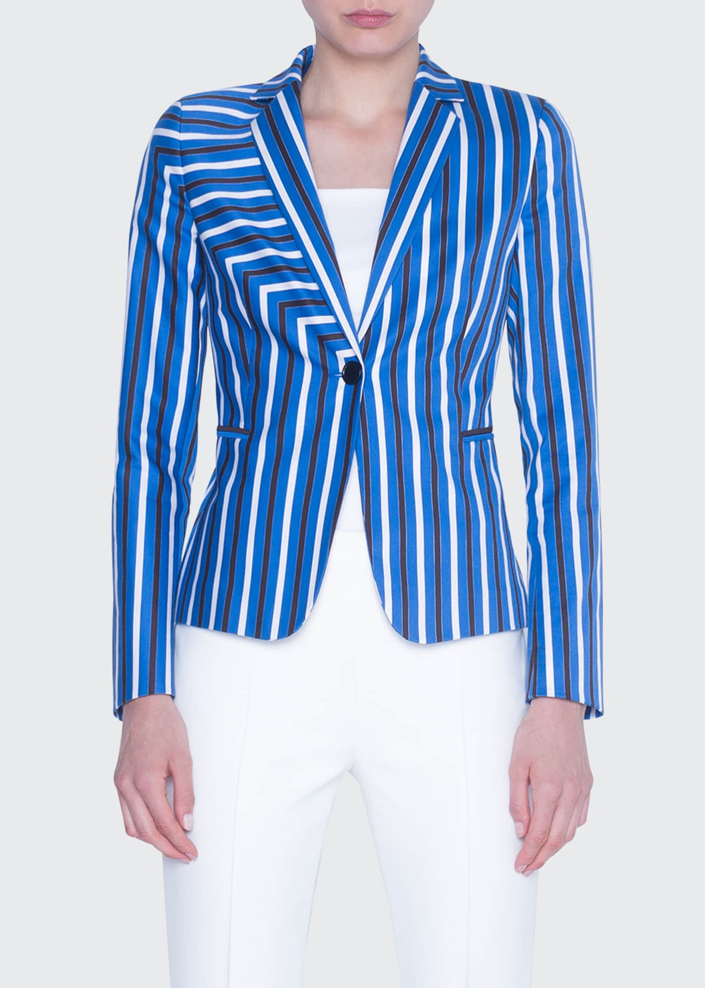 Image 3 of 4: Striped Gabardine Fitted Blazer