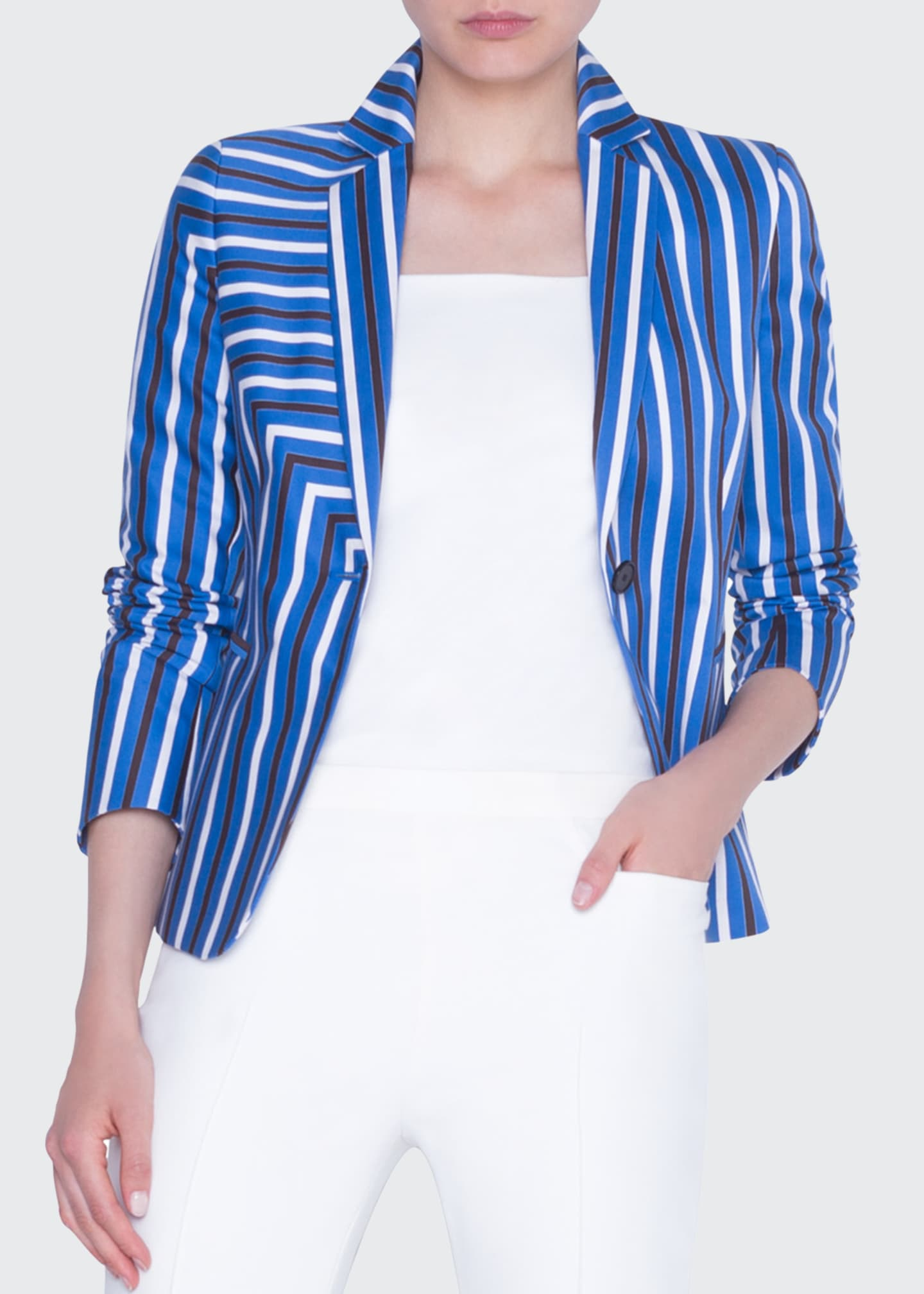 Image 4 of 4: Striped Gabardine Fitted Blazer