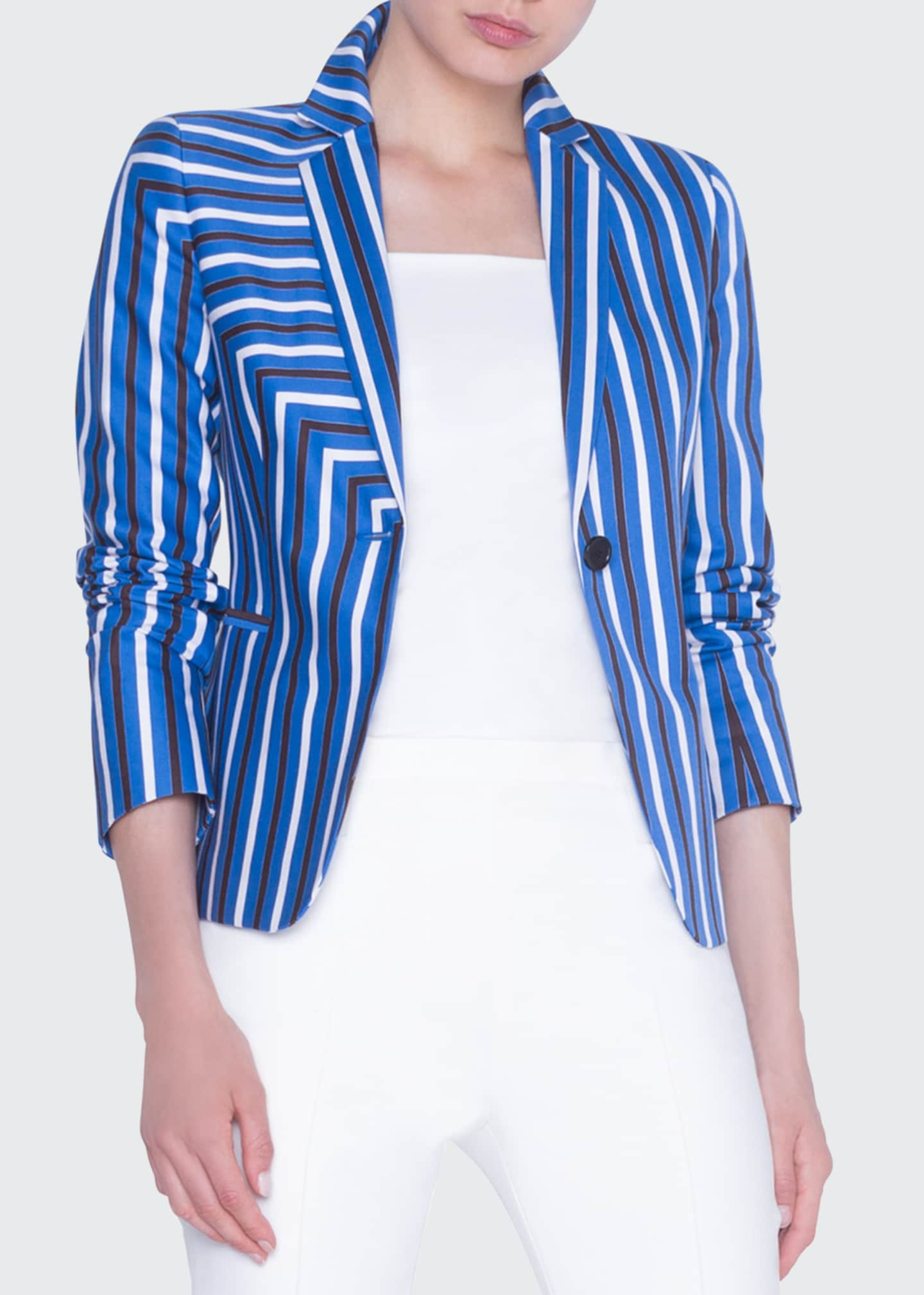 Image 1 of 4: Striped Gabardine Fitted Blazer