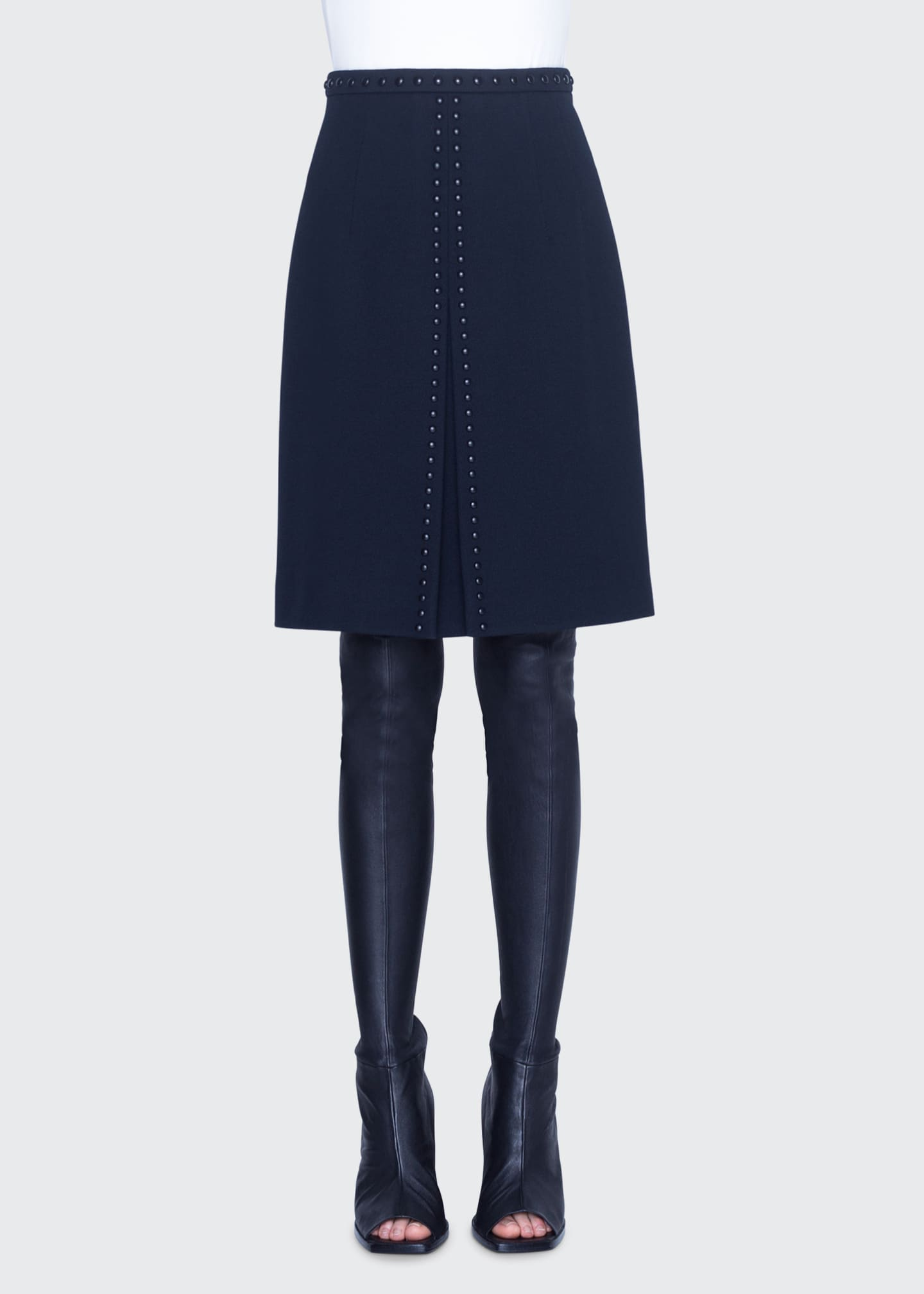 Akris punto Rivet-Trim Diagonal Knee-Length Skirt