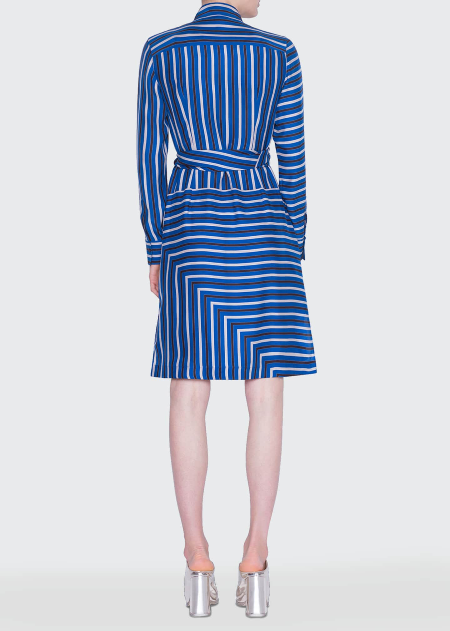 Image 2 of 2: Square-Striped Silk Crepe de Chine Shirtdress