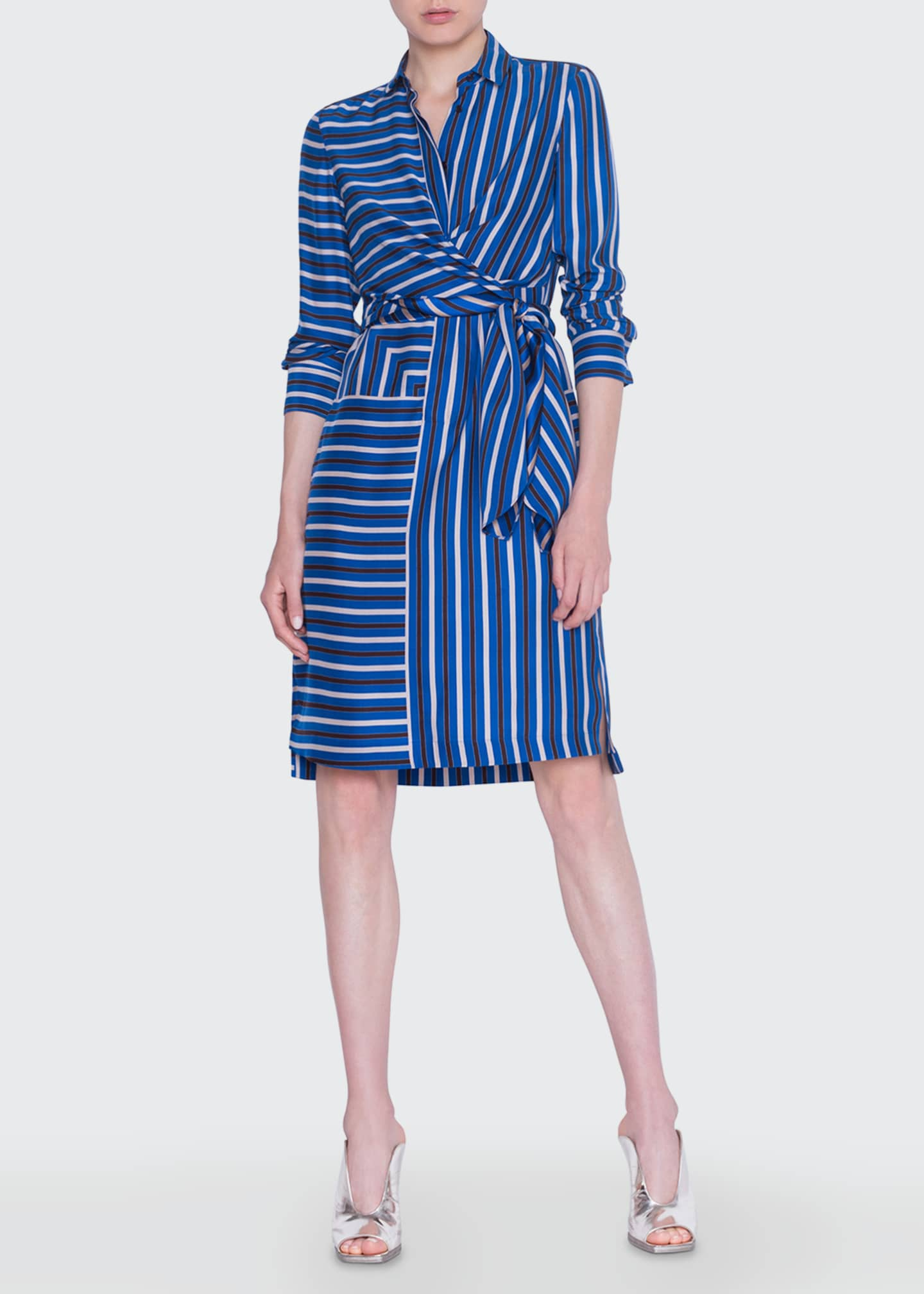 Image 1 of 2: Square-Striped Silk Crepe de Chine Shirtdress