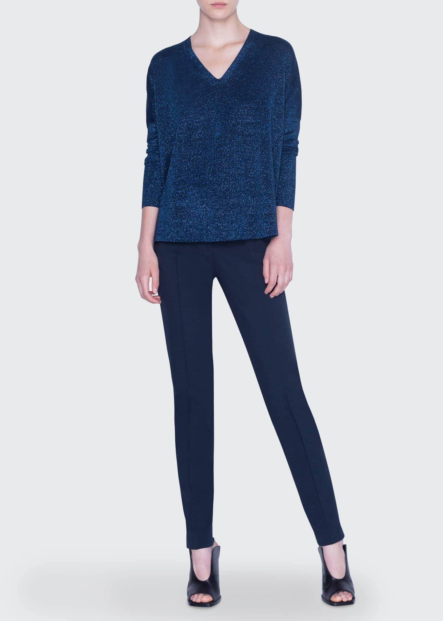 Akris punto Metallic Knit Wool Sweater
