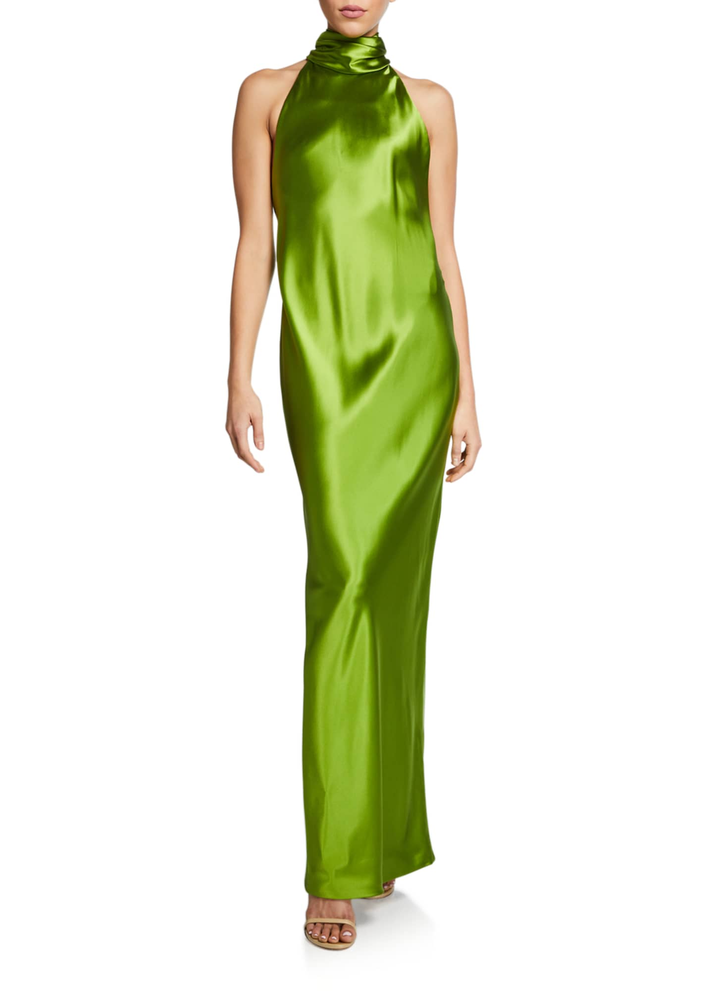 Brandon Maxwell Backless Silk Halter Gown