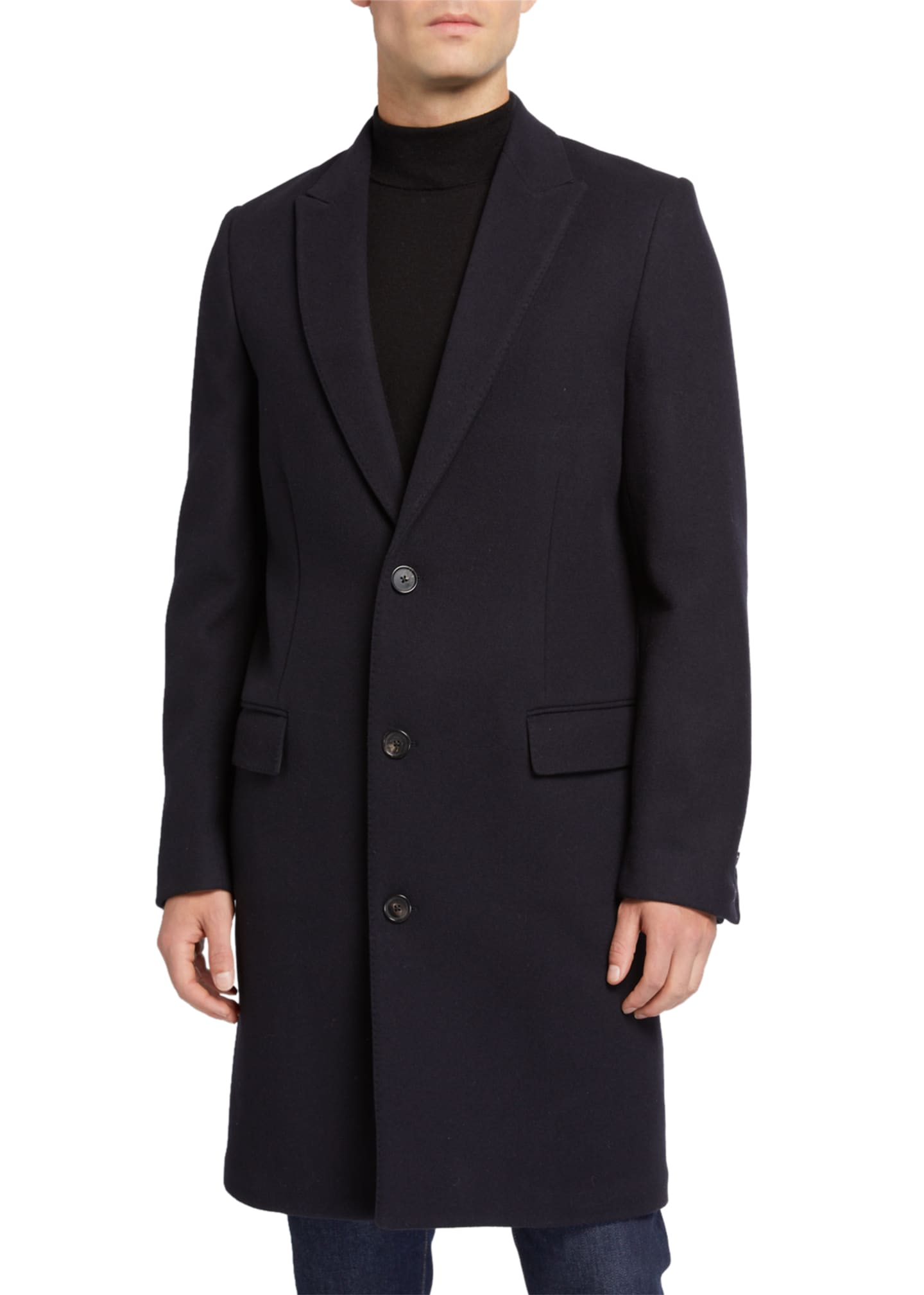 Image 2 of 3: Men's Gilles Single-Breasted Wool-Blend Overcoat
