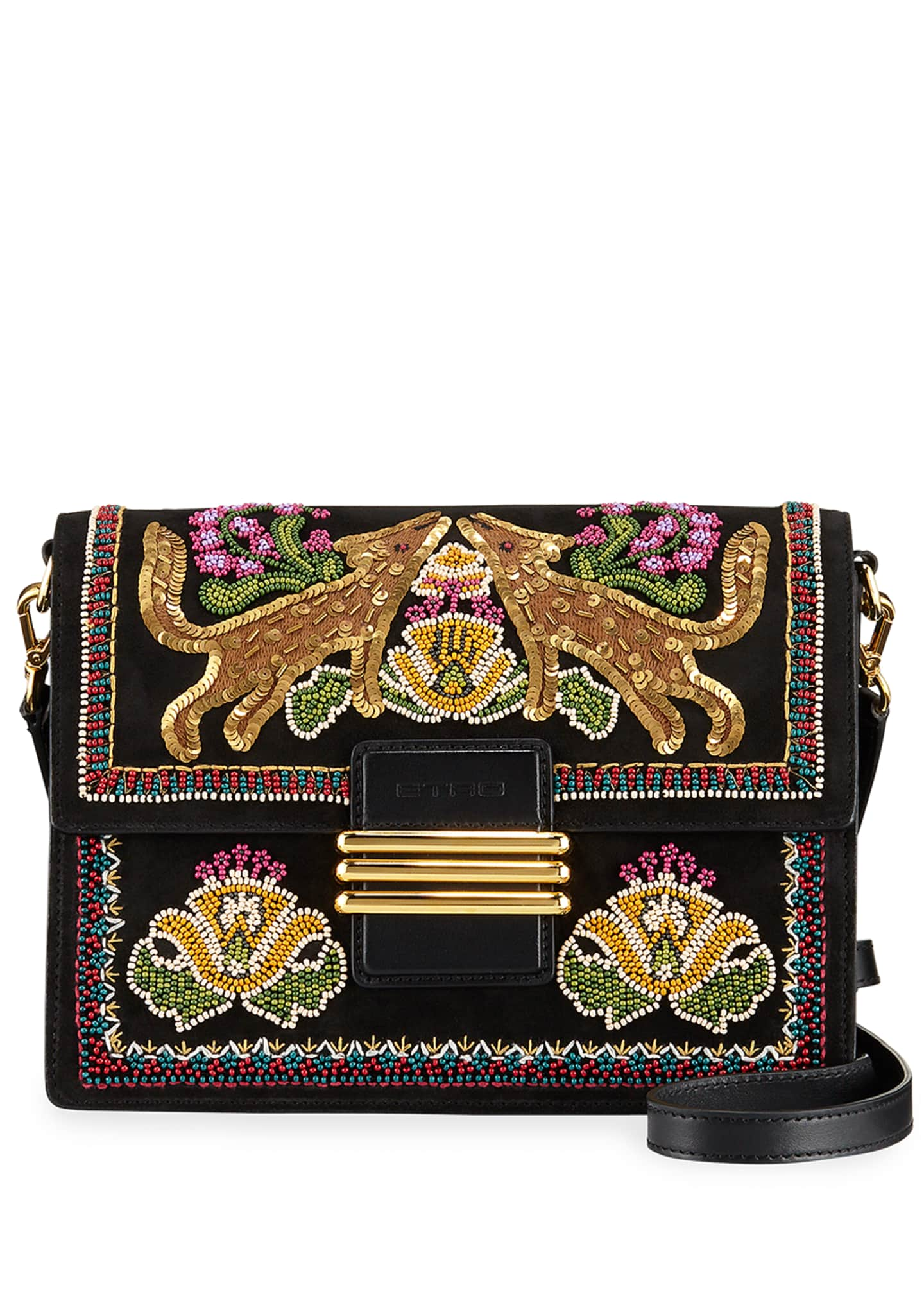 Etro Forrest Embroidered Suede Rainbow Shoulder Bag