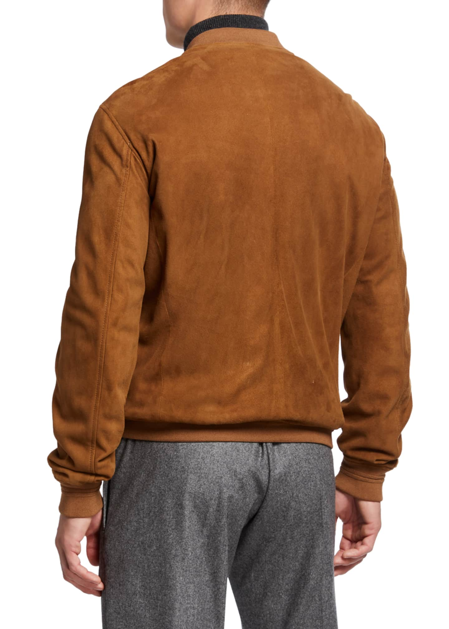 Image 2 of 3: Men's Alvar Lamb Suede Zip Bomber Jacket